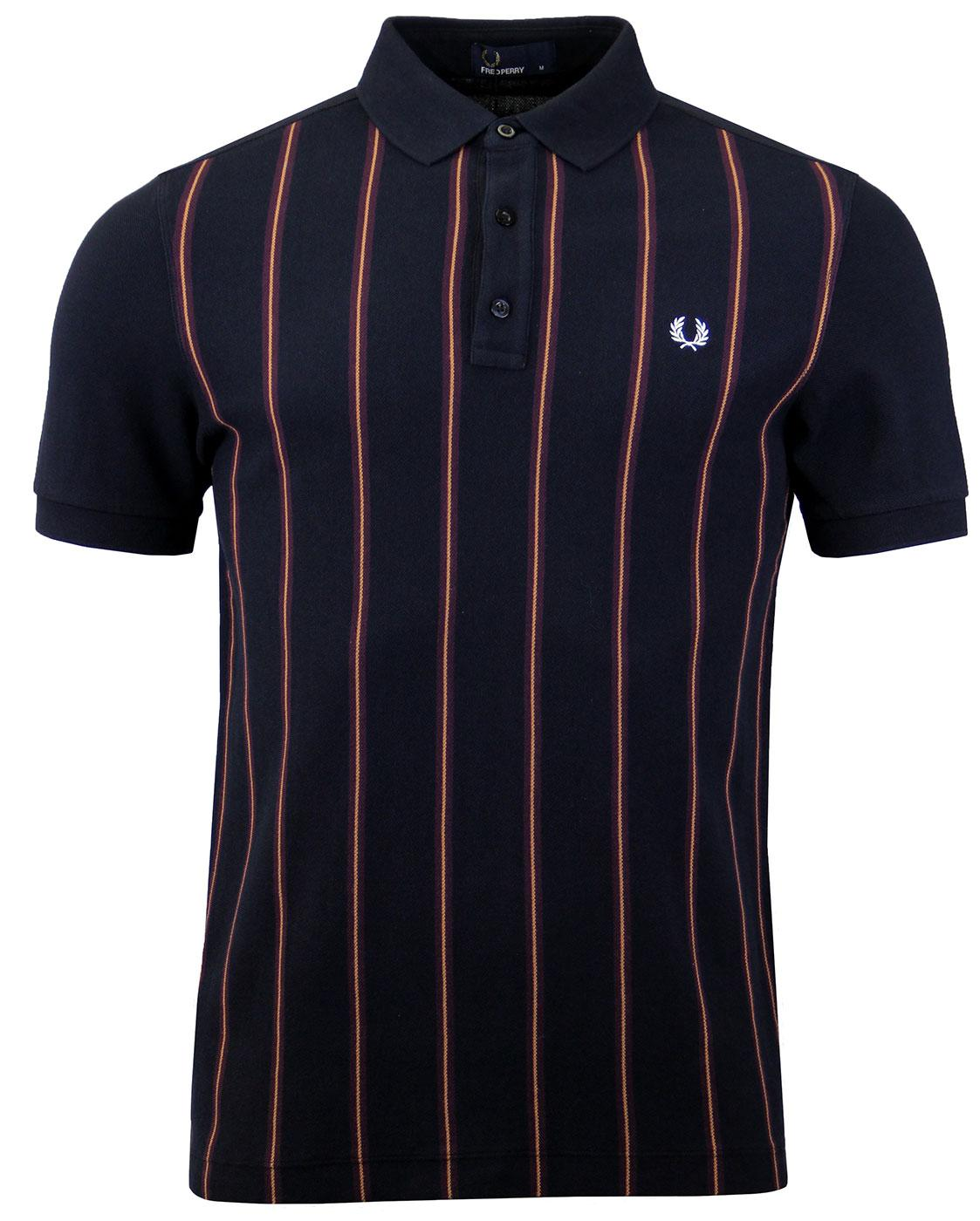 FRED PERRY M2579 Navy Stripe Front Pique