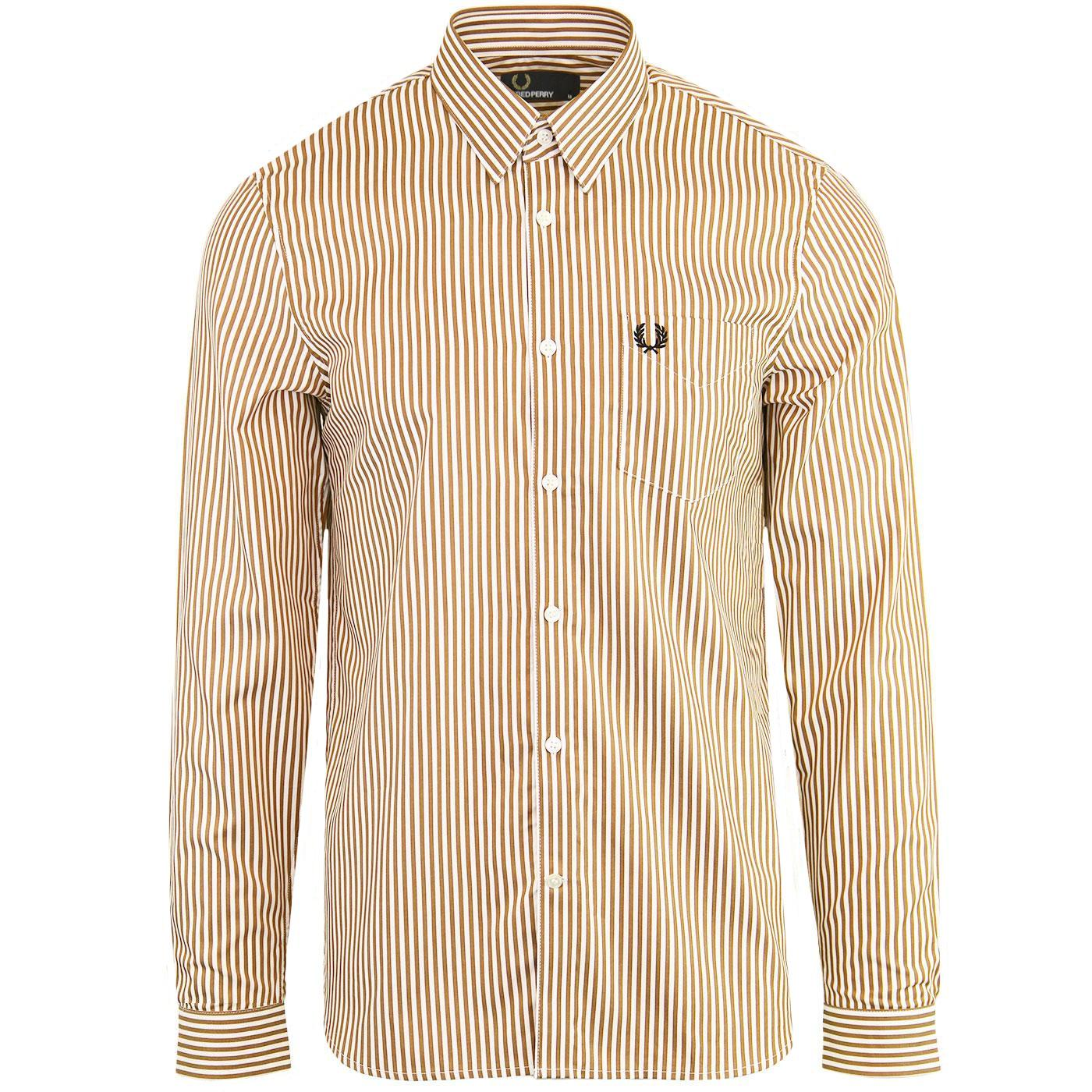 FRED PERRY Men's Retro Candy Stripe Twill Shirt C