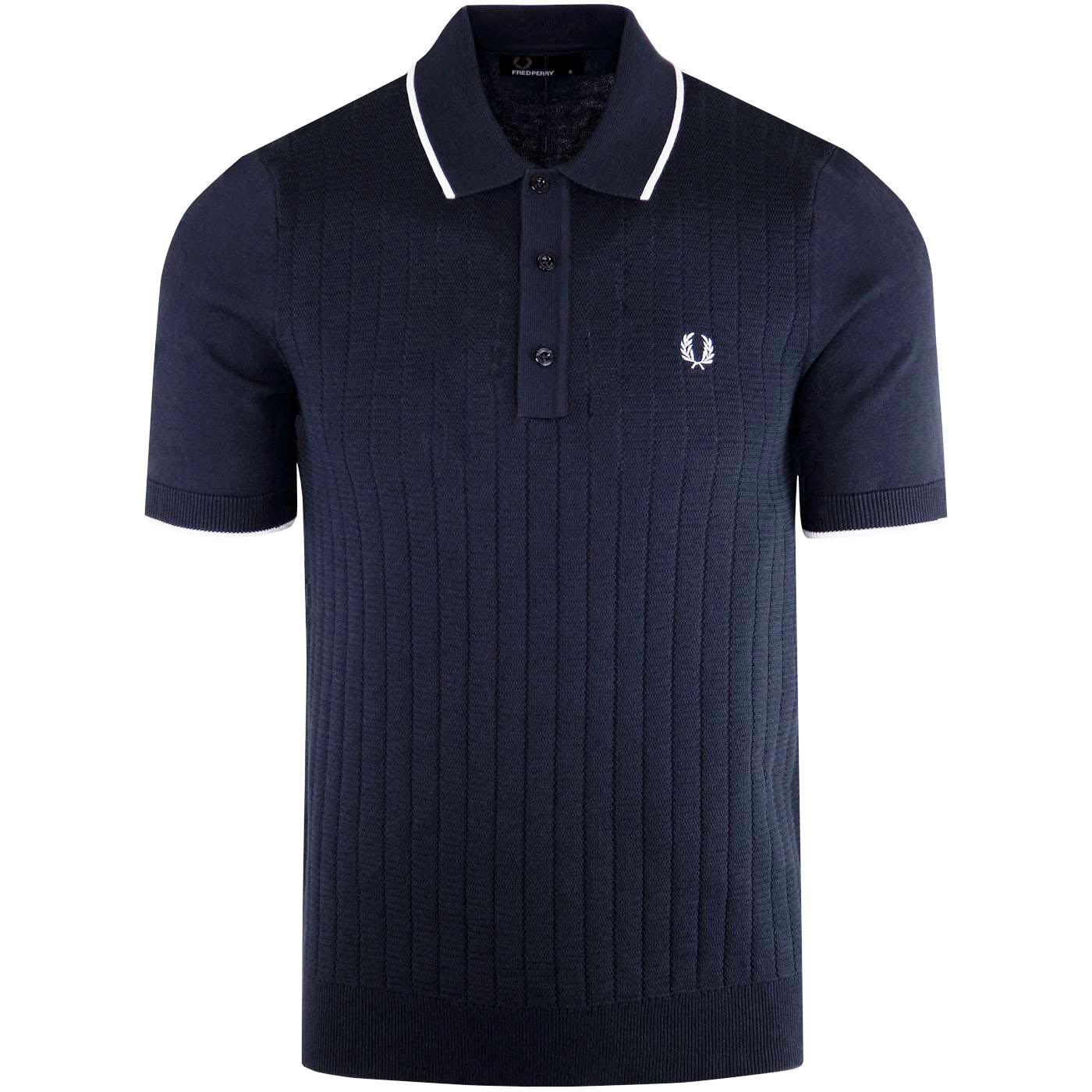 FRED PERRY Mod Texture Front Knit Polo Shirt NAVY