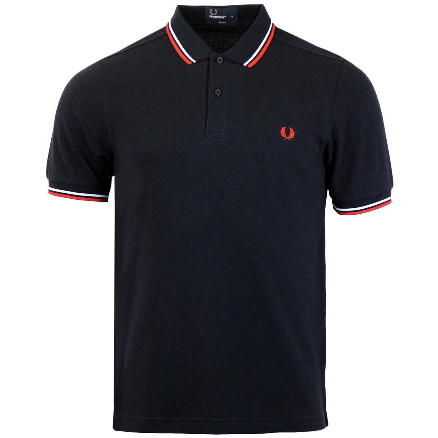 FRED PERRY M3600 Mod Twin Tipped Polo Shirt N/R/W