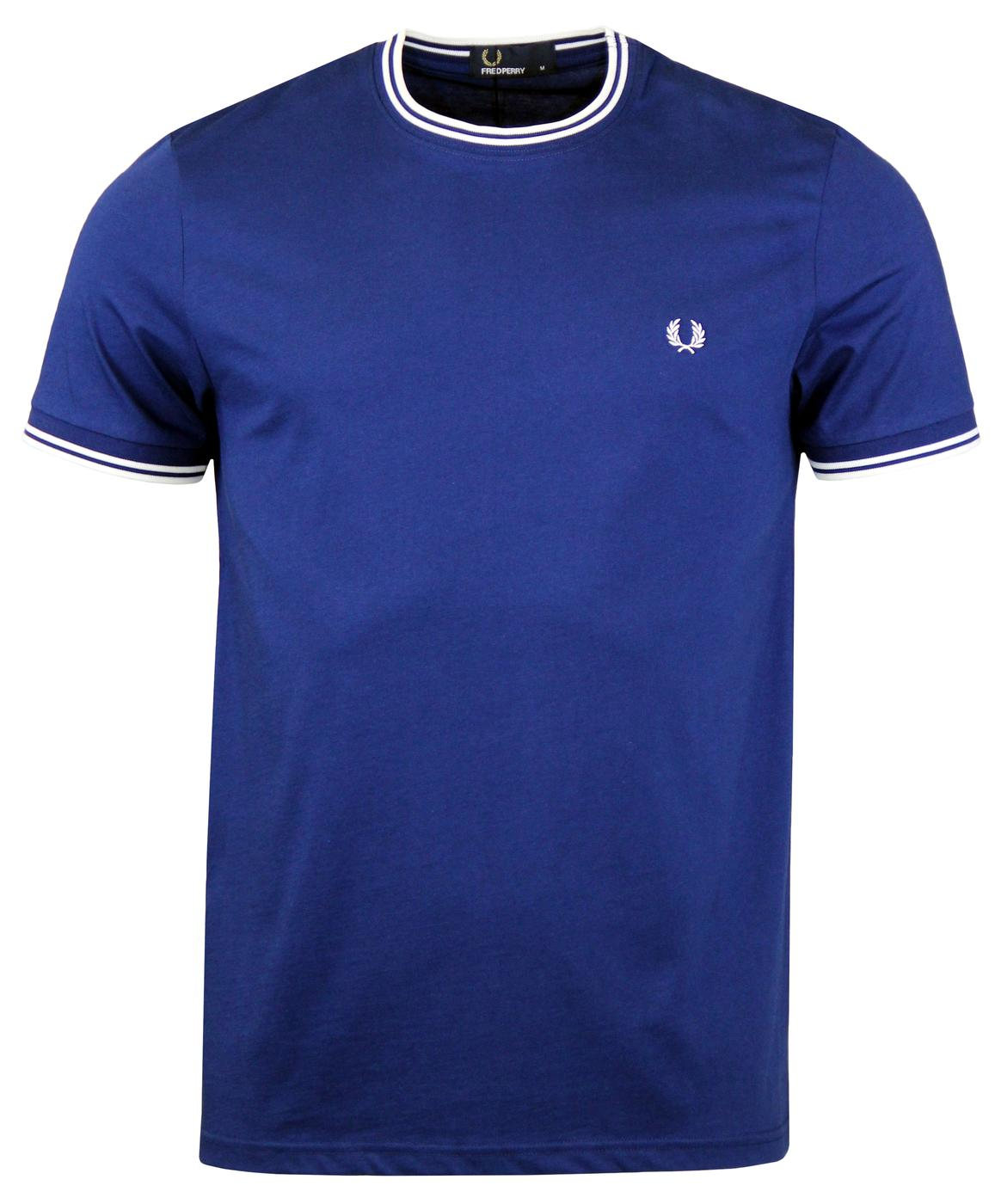 FRED PERRY Retro Mod Twin Tipped Crew Tee M. BLUE