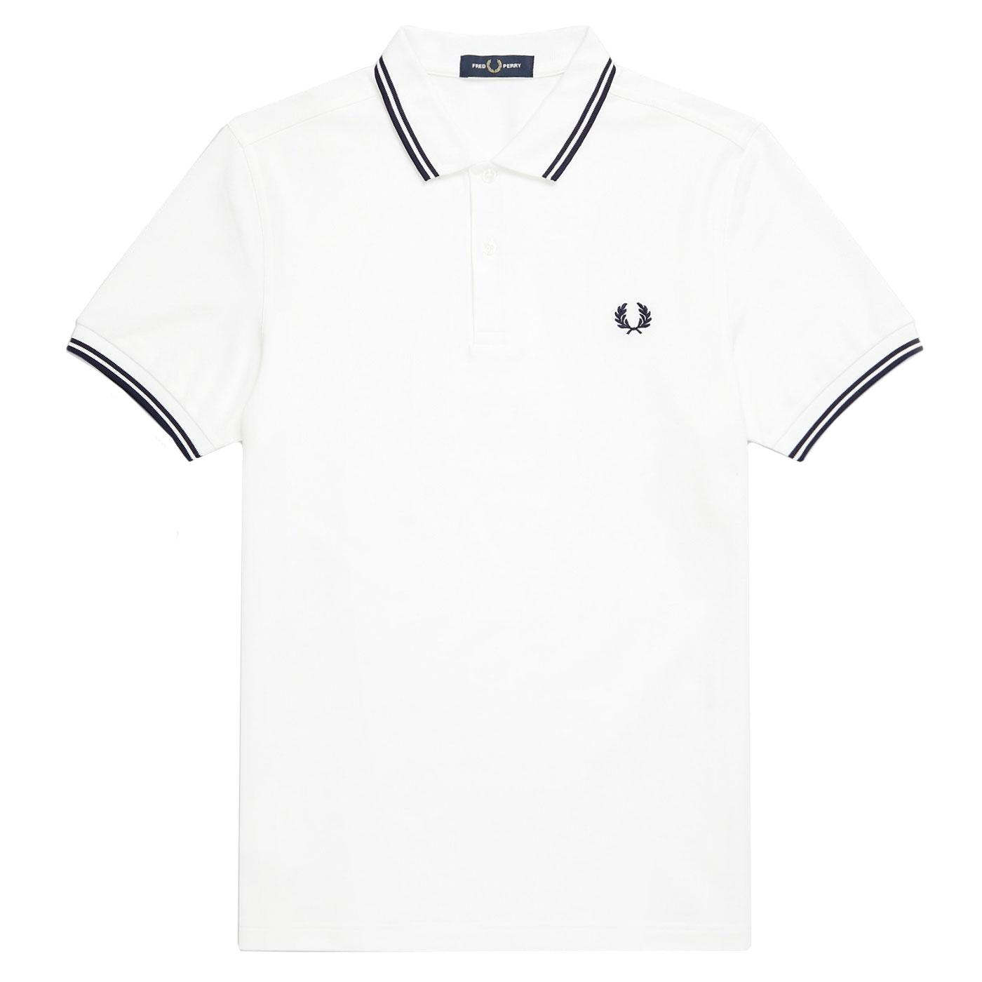 FRED PERRY M3600 Twin Tipped Mod Polo White/C Blue