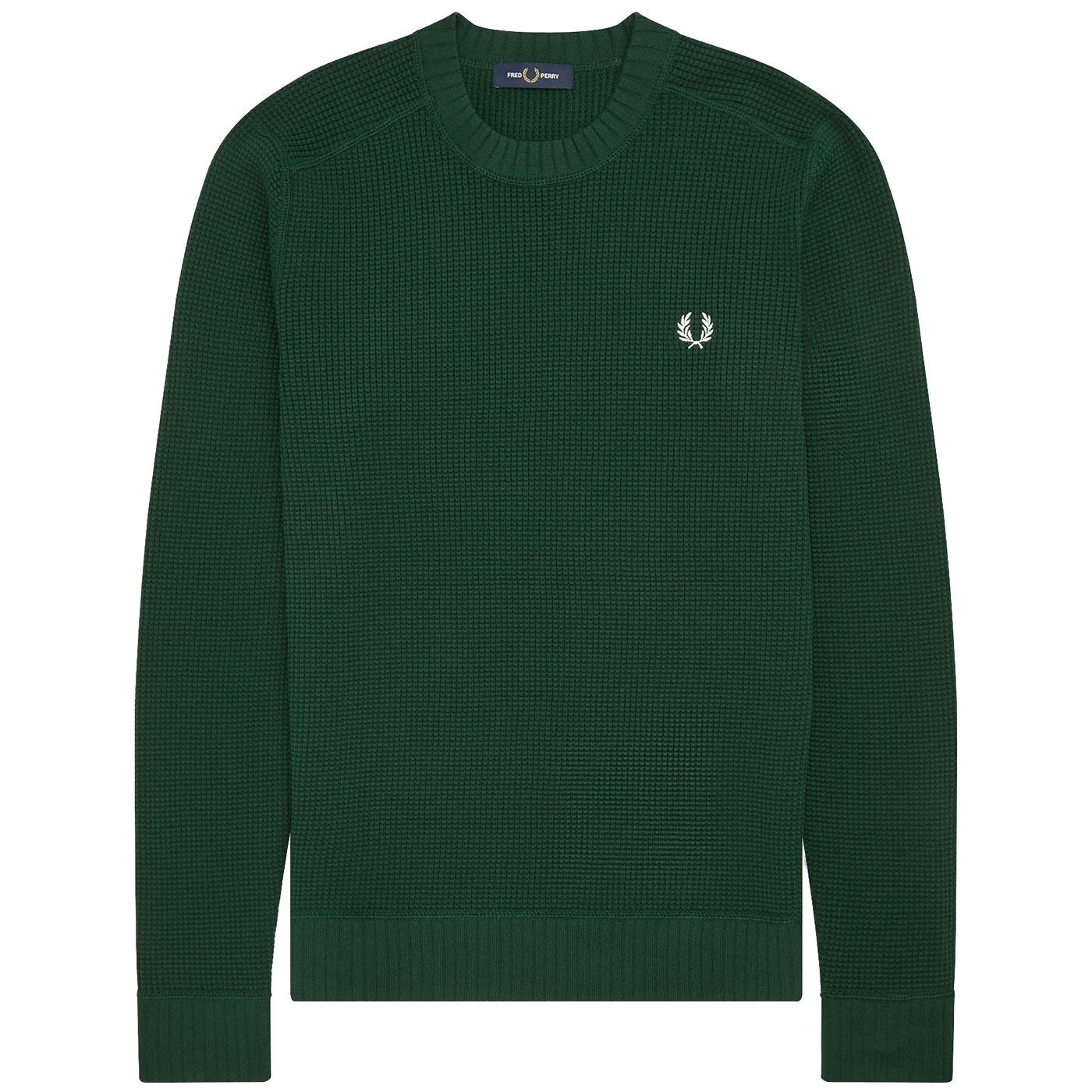 FRED PERRY Mens Mod Knitted Waffle Texture Jumper