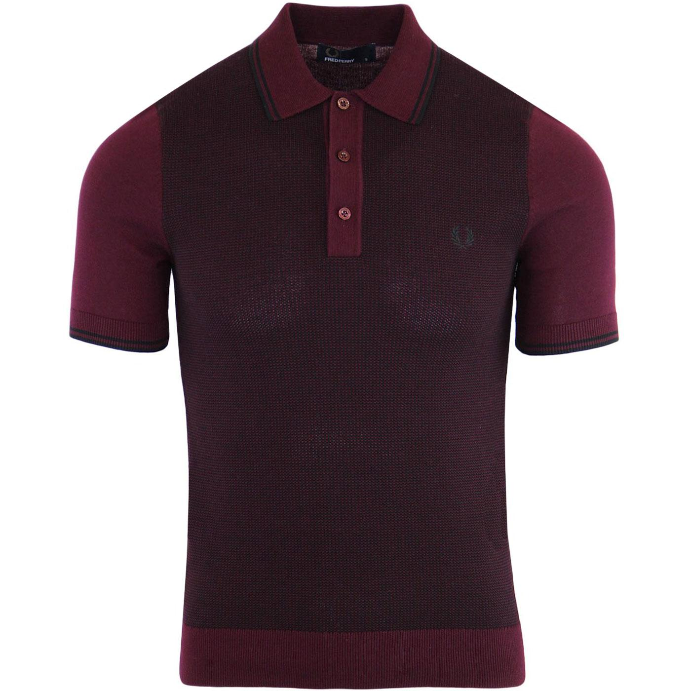 FRED PERRY Men's Knitted Mod Two-Tone Polo Shirt M