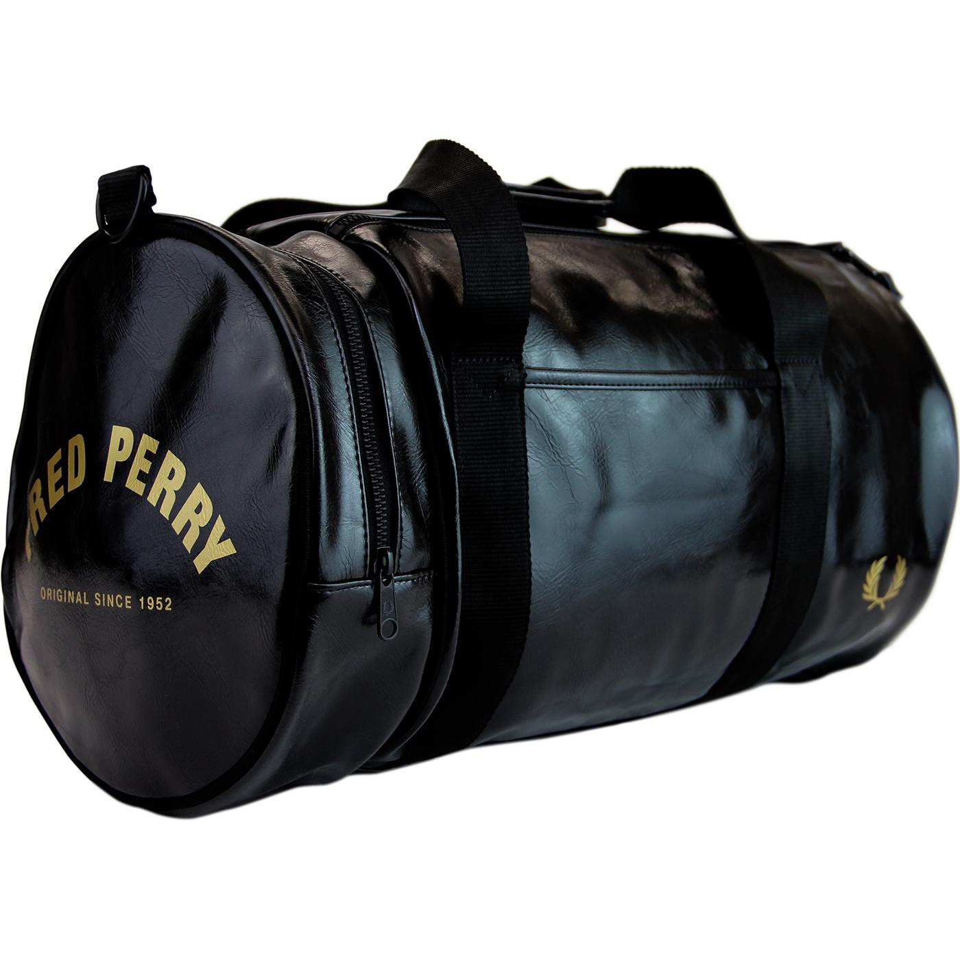 FRED PERRY Retro Classic Barrel Bag - Black/Gold