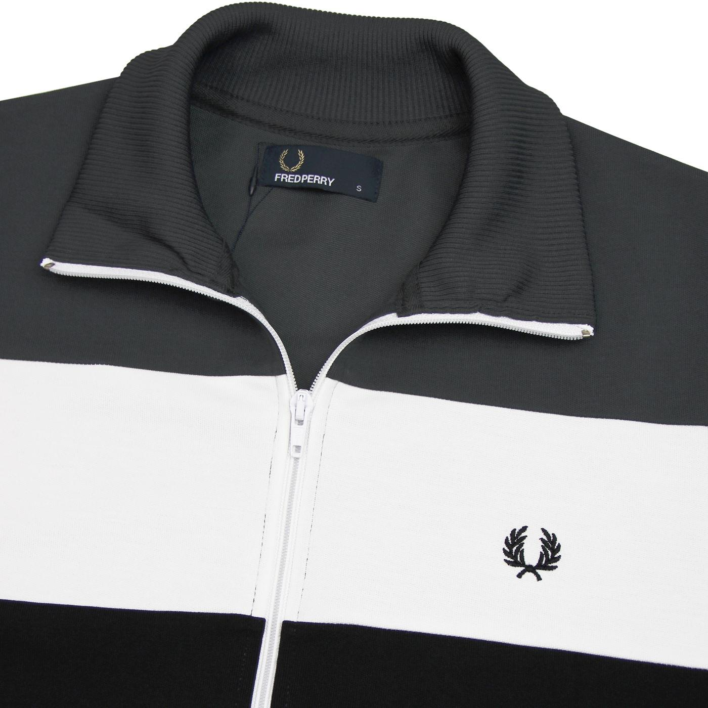 FRED PERRY Retro Colour Block Panel Track Jacket Charcoal