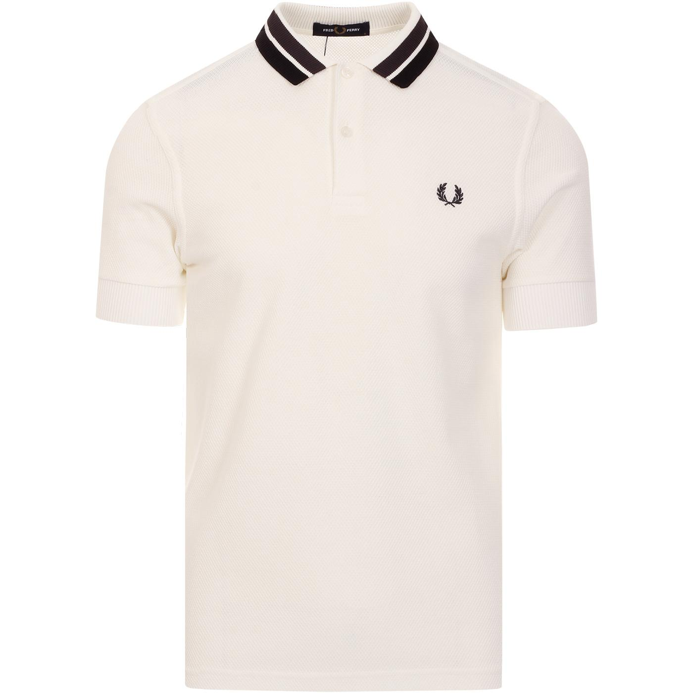 FRED PERRY Mod Bold Tipped Textured Polo Top WHITE