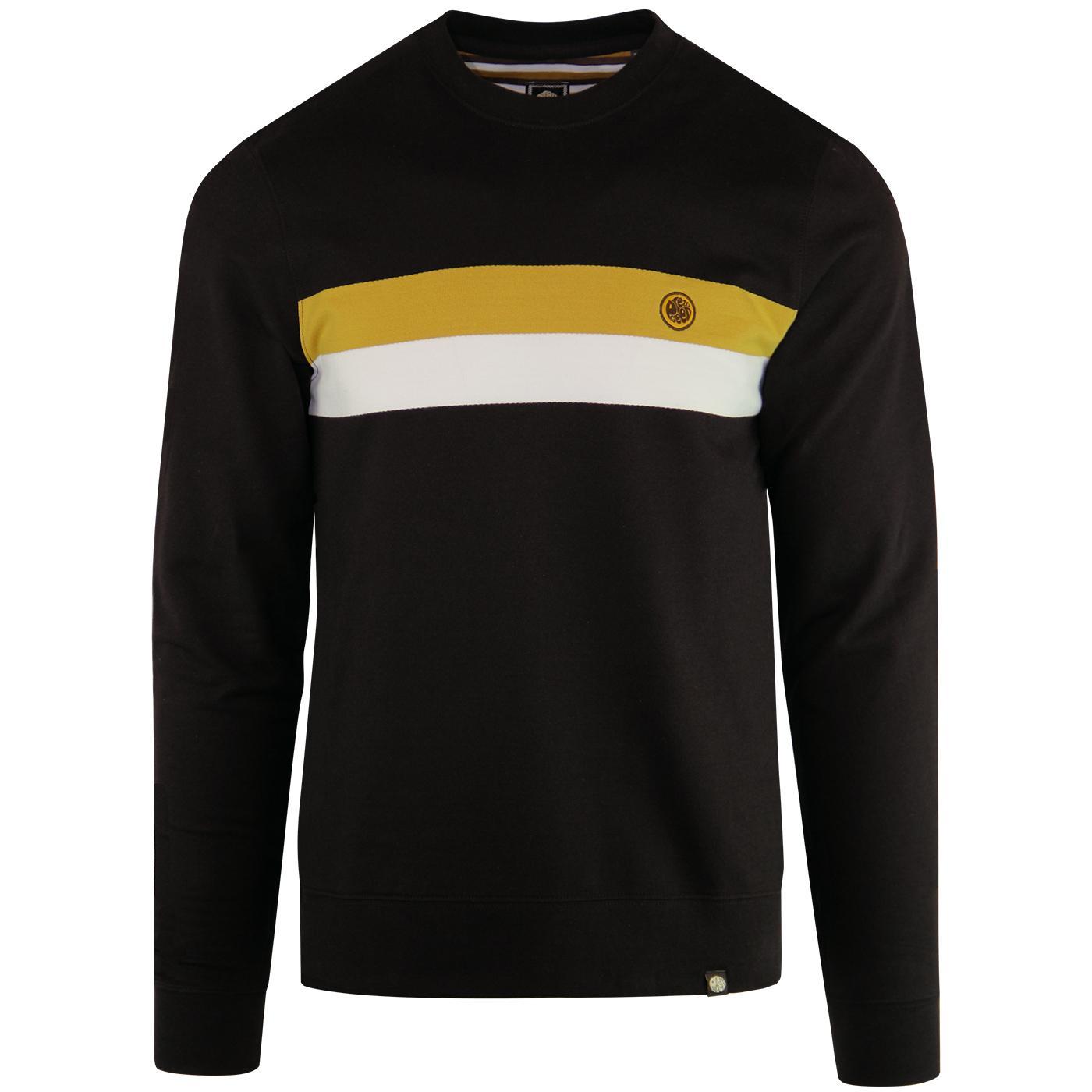 PRETTY GREEN Retro Chest Stripe Sweatshirt (Brown)