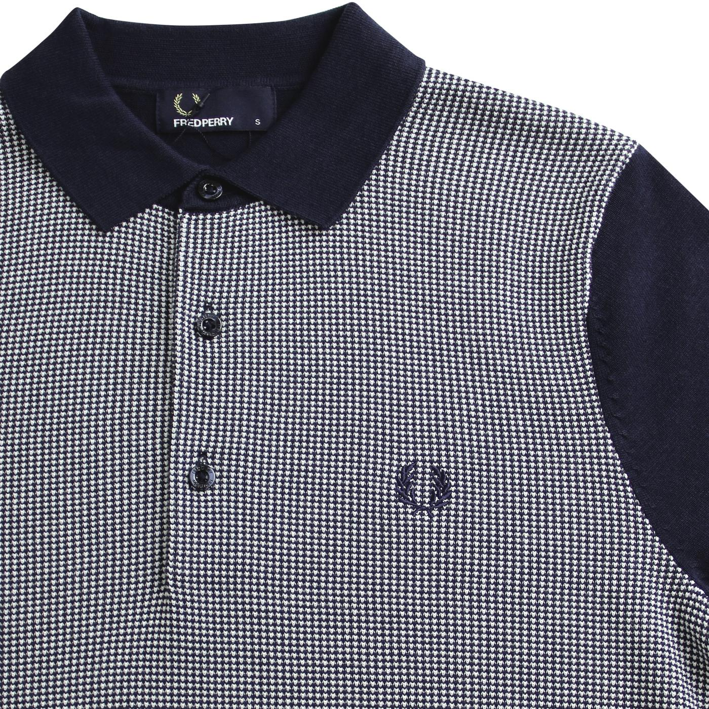 5f75c1052 FRED PERRY Mod Birdseye Knitted Polo Top in Deep Carbon