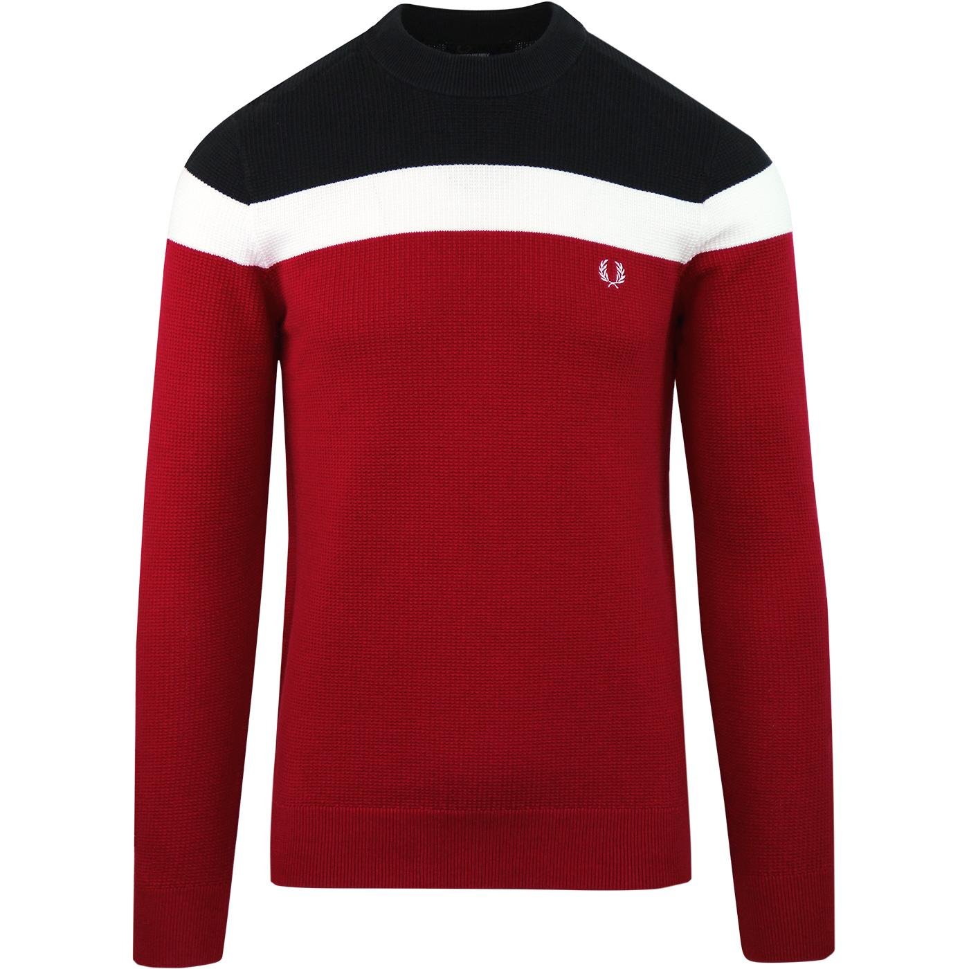 FRED PERRY Retro Mod Colour Block Crew Jumper RED