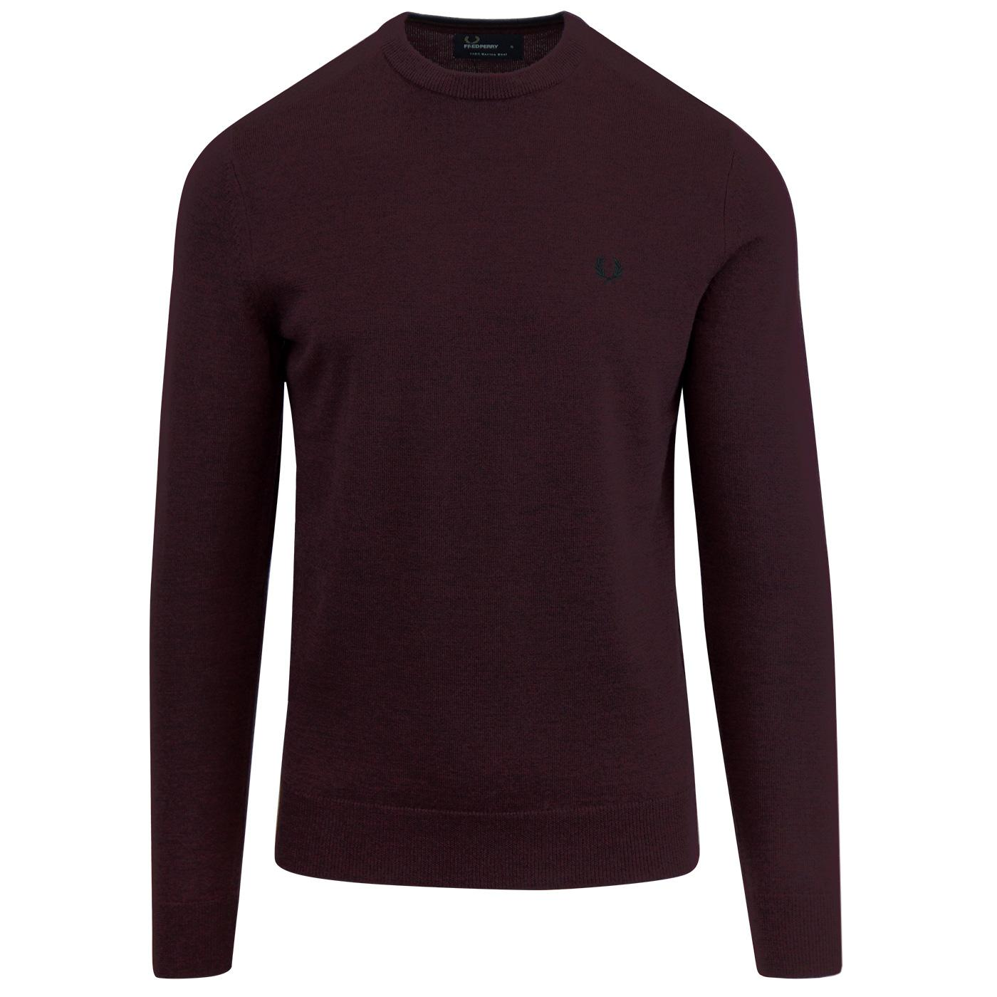 FRED PERRY Merino Wool Crew Neck Jumper (Mahohany)