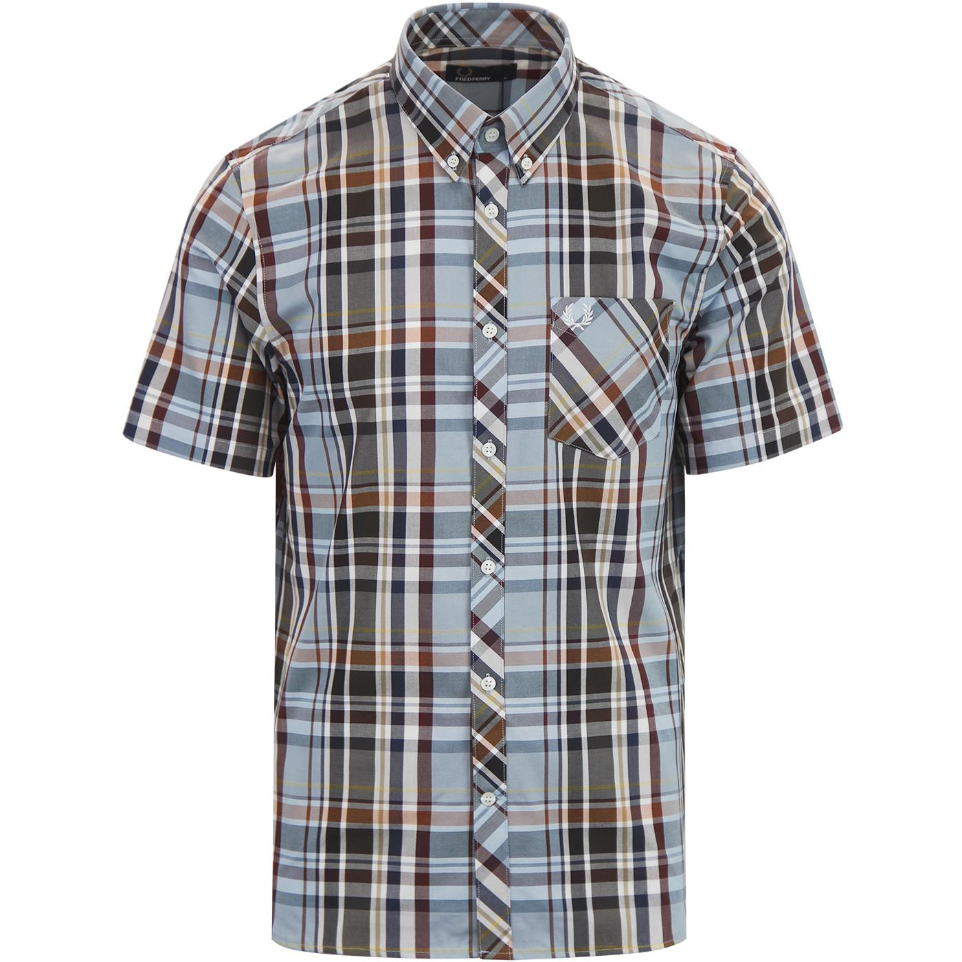 FRED PERRY Retro Mod S/S Madras Check Shirt SKY