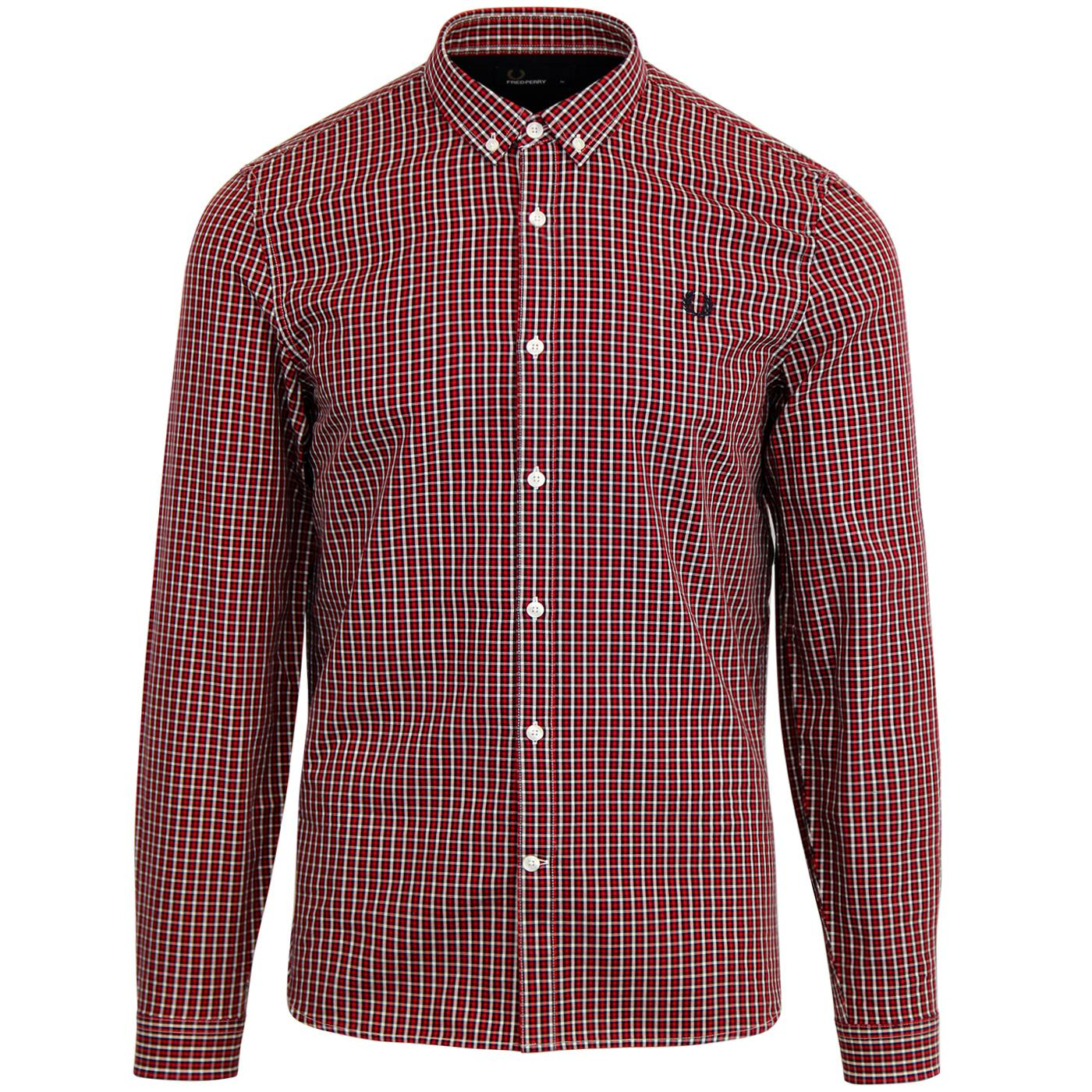FRED PERRY Button Down Basketweave Check Shirt (R)