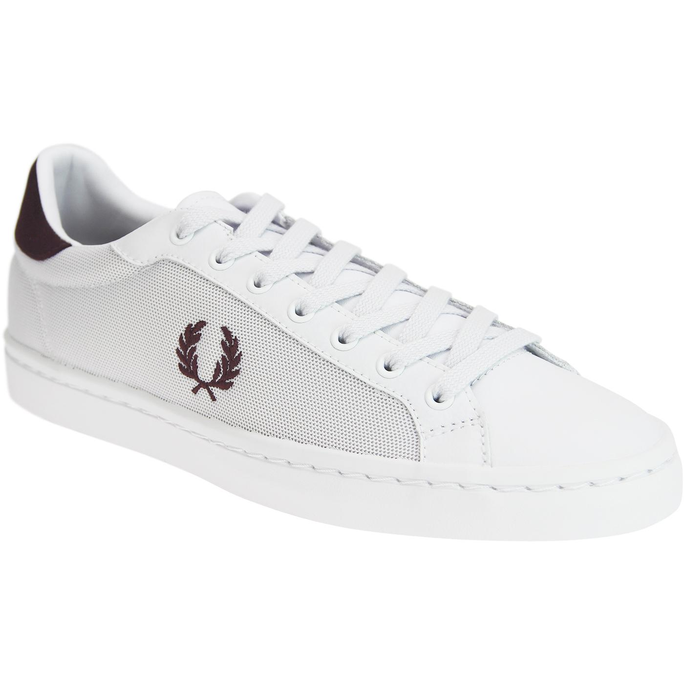 FRED PERRY Lawn Leather/Mesh Retro Trainers (W/B)