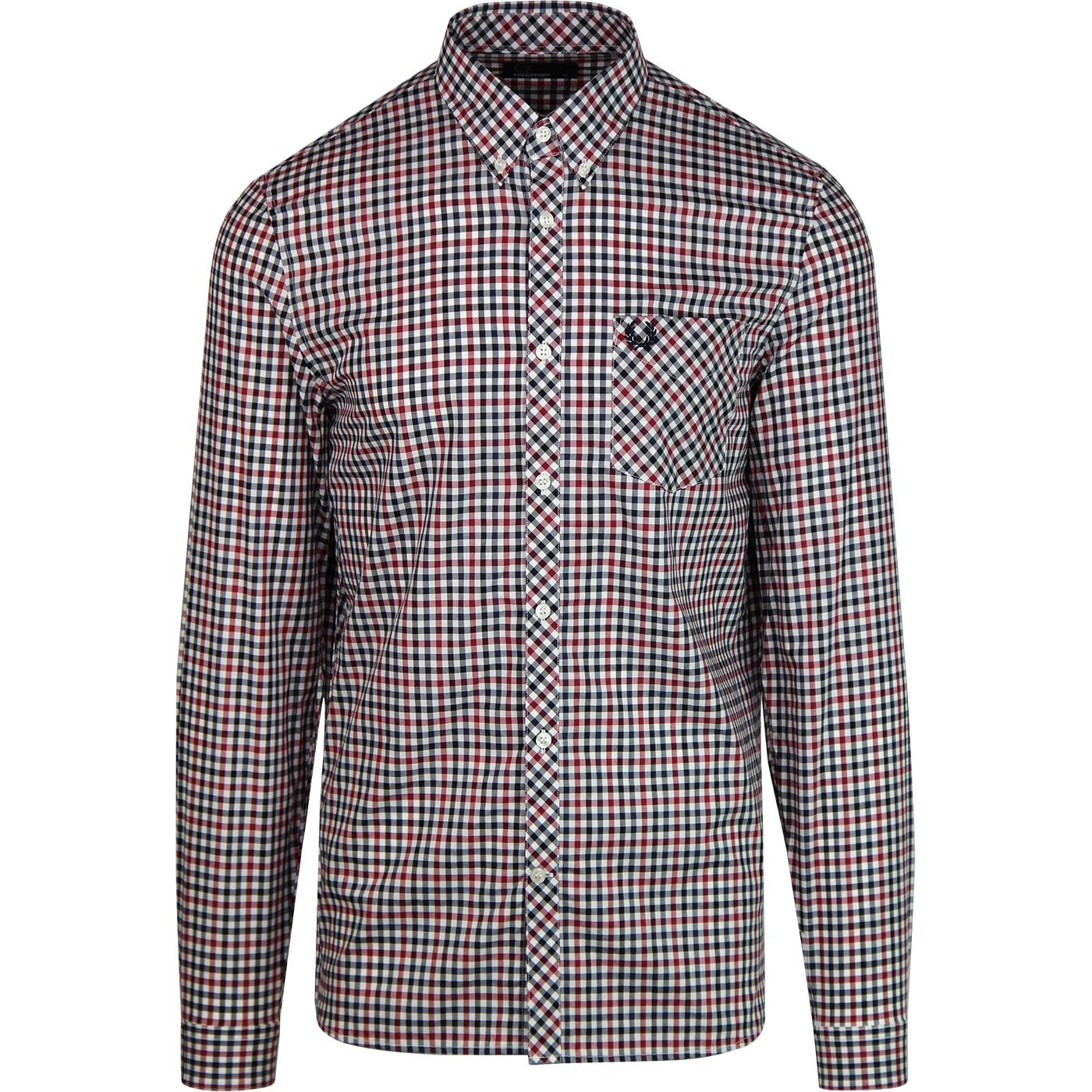 FRED PERRY Mod Four Colour Gingham Shirt (Rosso)