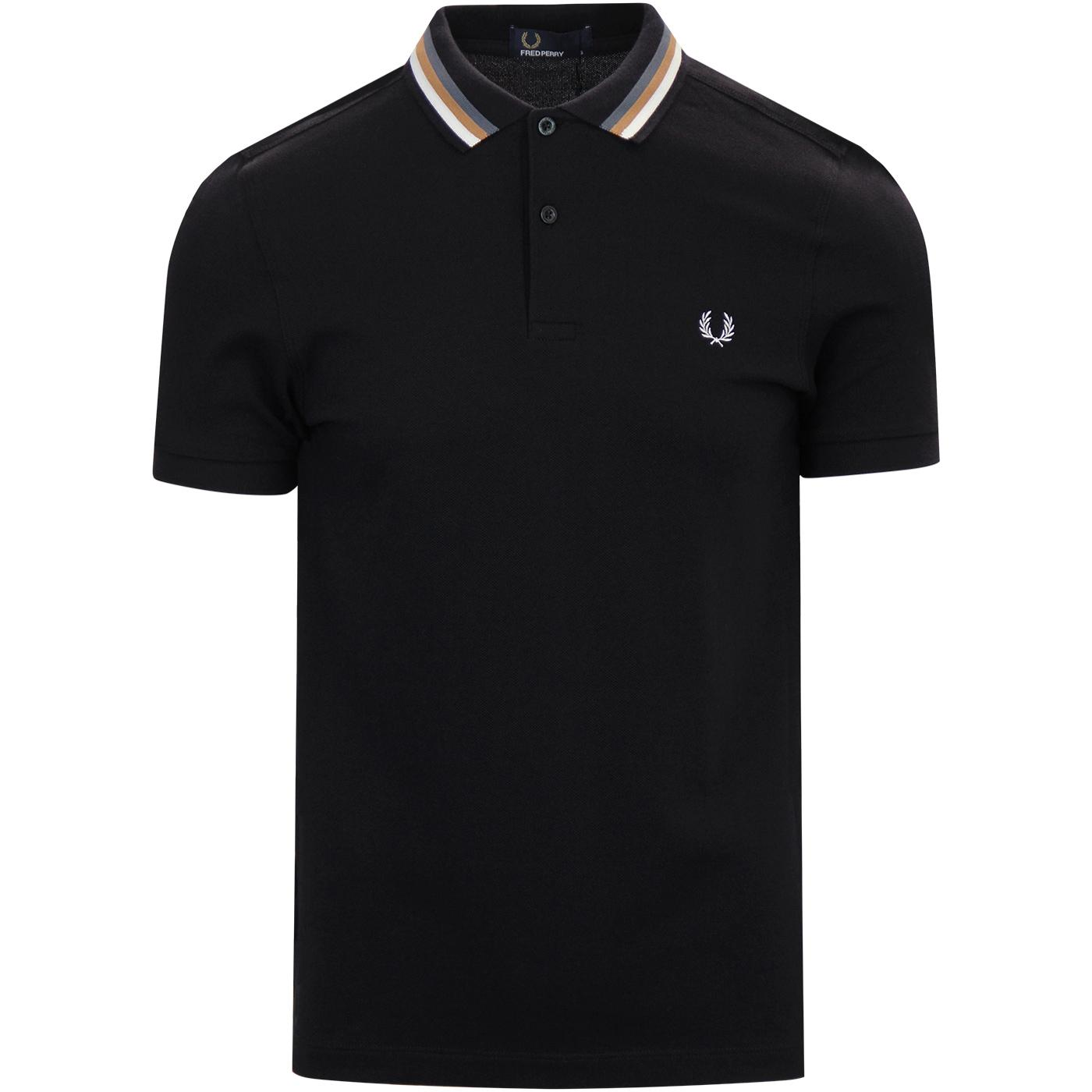 FRED PERRY Bomber Stripe Pique Mod Polo Top BLACK