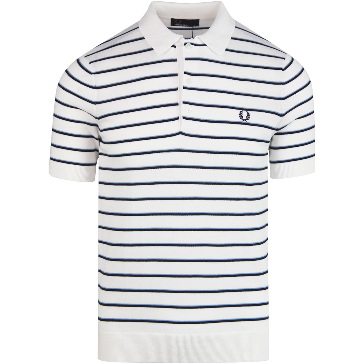 FRED PERRY Retro Mod Fine Stripe Knit Polo Top SW