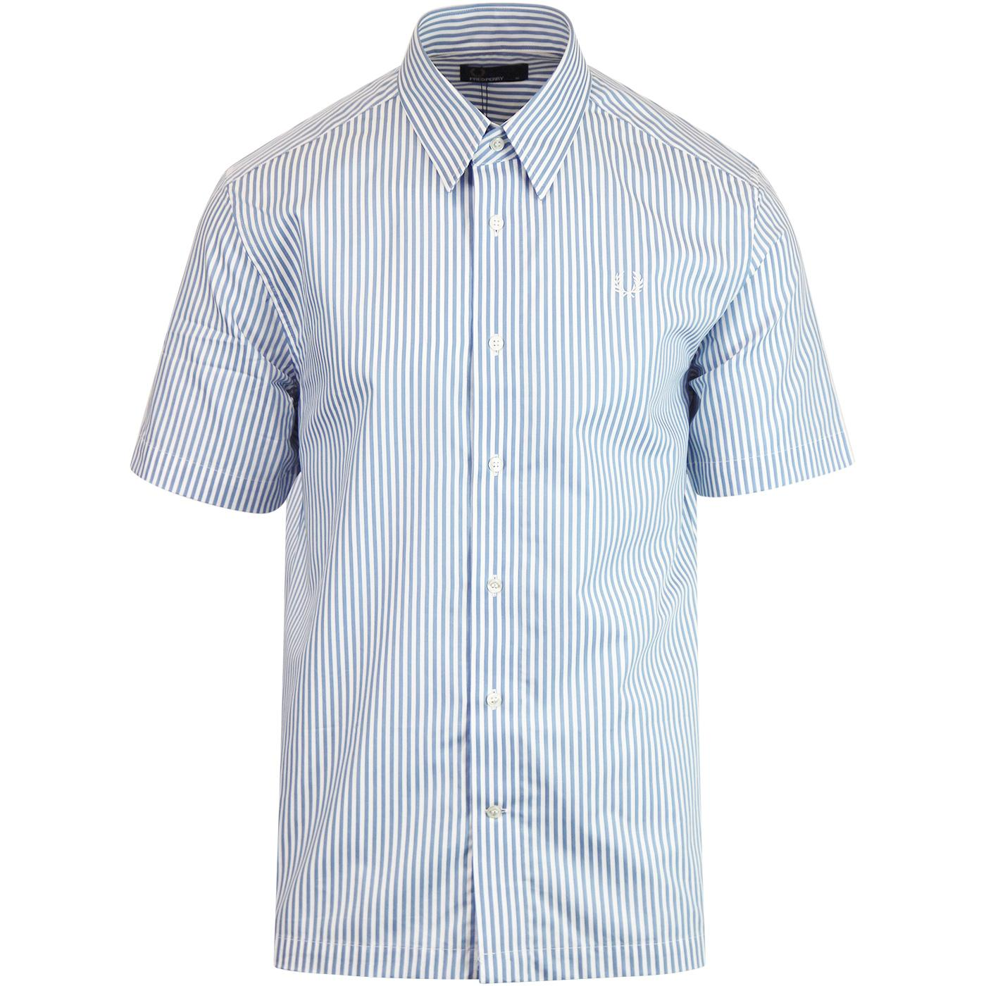 FRED PERRY S/S Vertical Stripe 60s Mod Shirt (Sky)