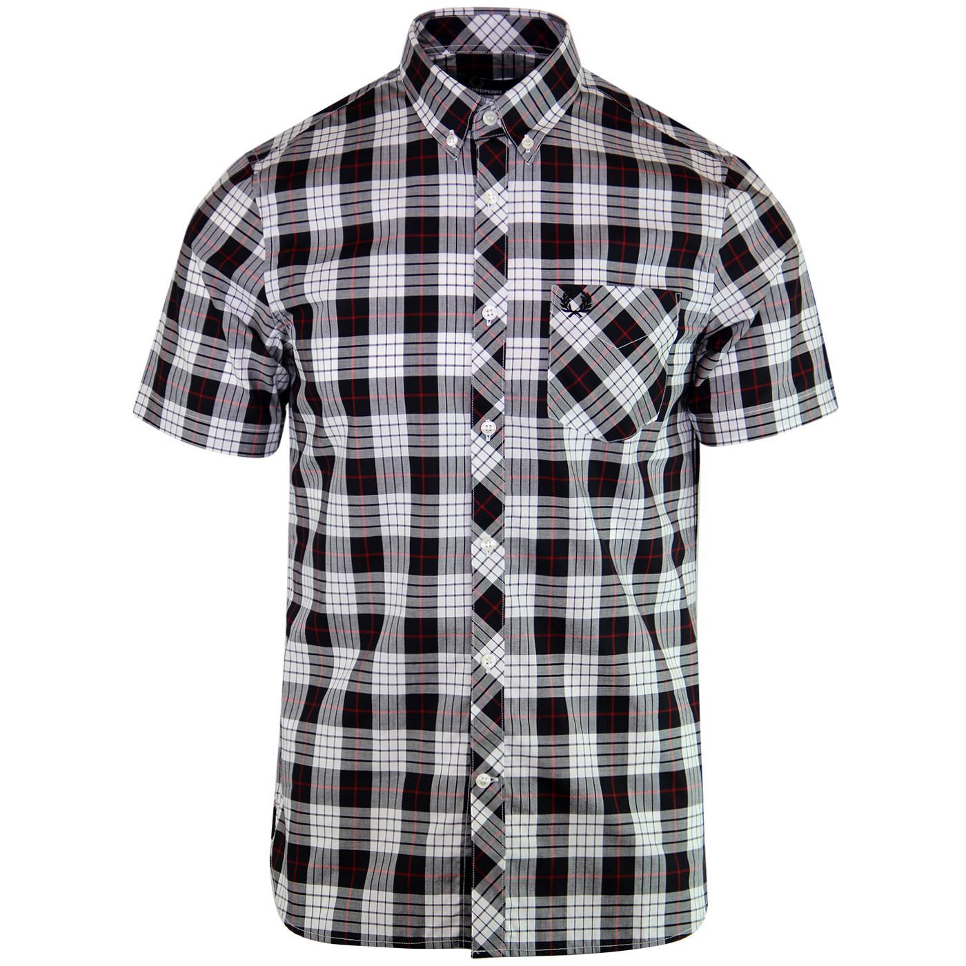 Tartan FRED PERRY Button Down Collar Mod Shirt B/W