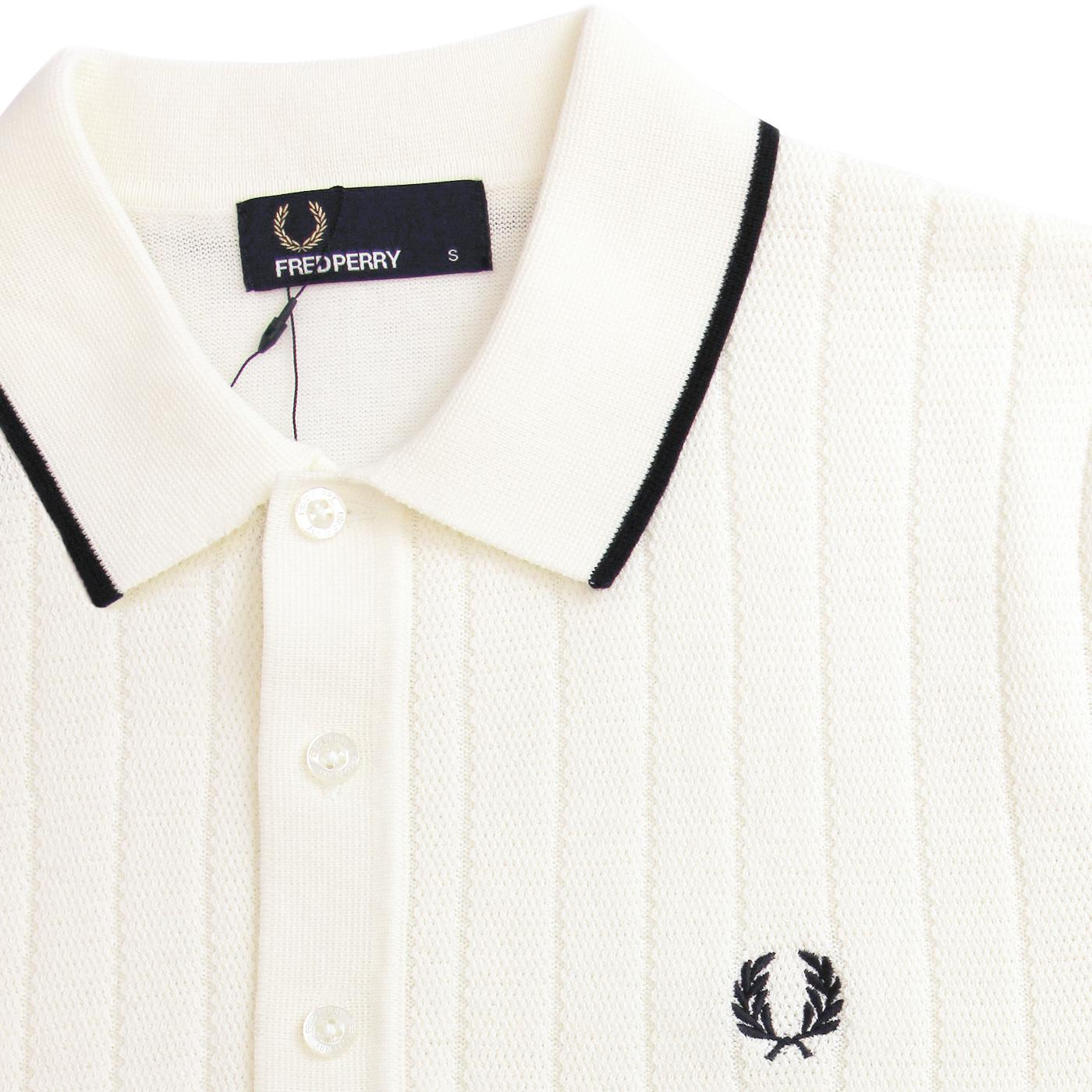 8beee753a70bb3 FRED PERRY Retro Mod Texture Front Knitted Polo Shirt Ecru
