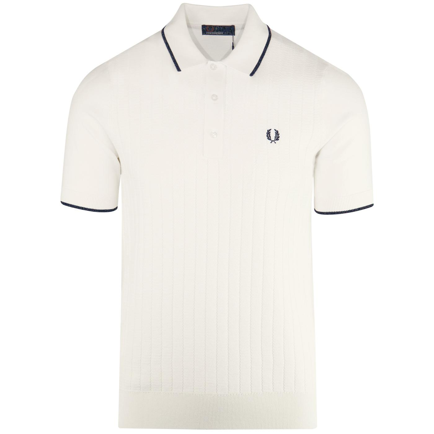 FRED PERRY Mod Texture Front Knit Polo Shirt ECRU