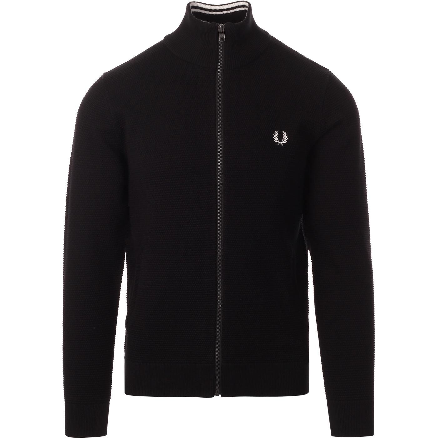 FRED PERRY Retro Waffle Texture Knit Track Jacket