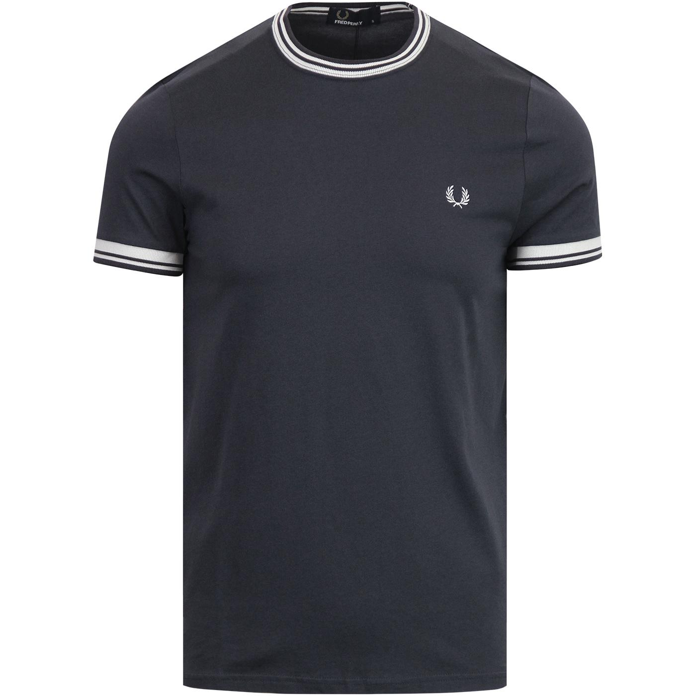FRED PERRY Retro Mod Twin Tipped Crew Tee GRAPHITE