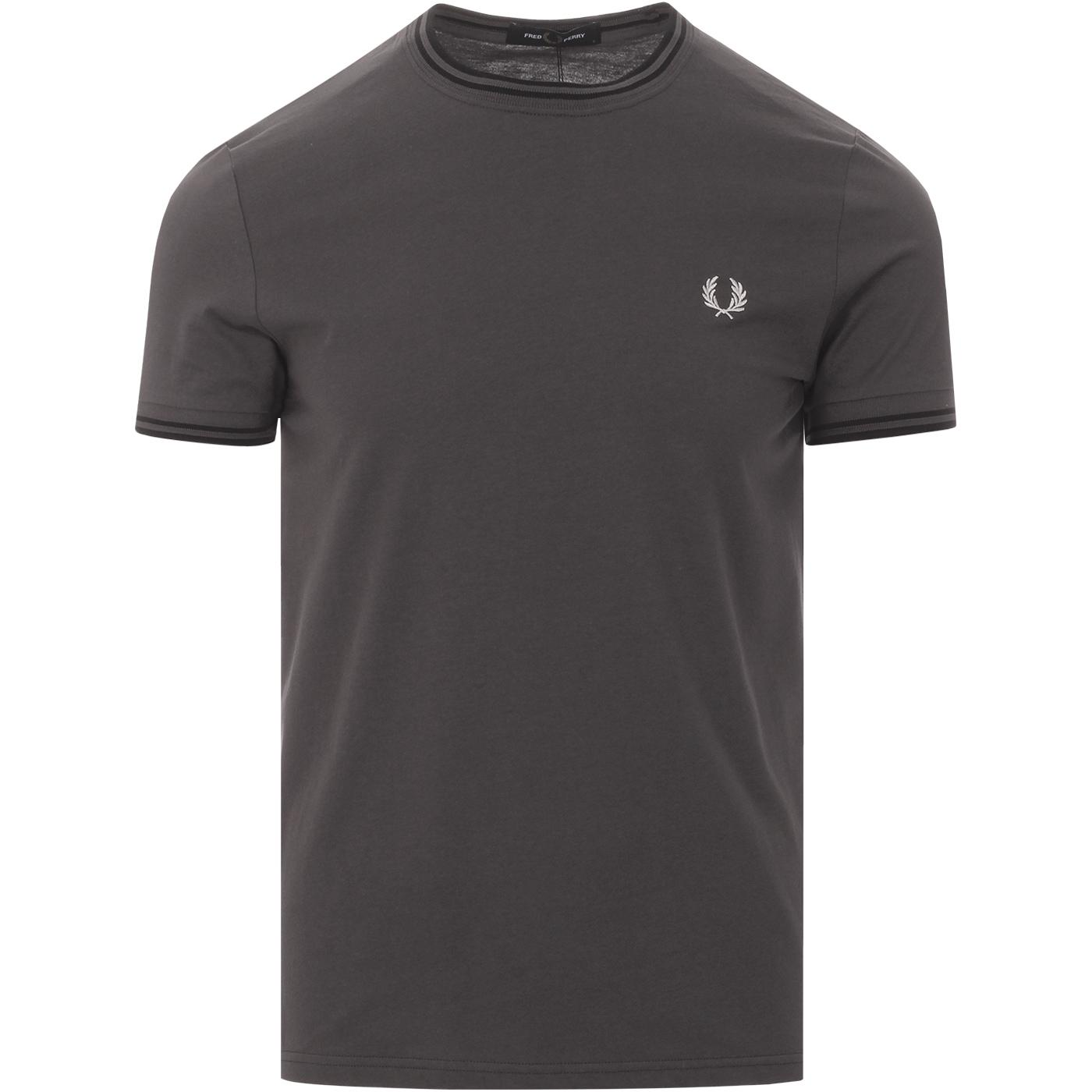 FRED PERRY Retro Mod Twin Tipped T-Shirt GUNMETAL