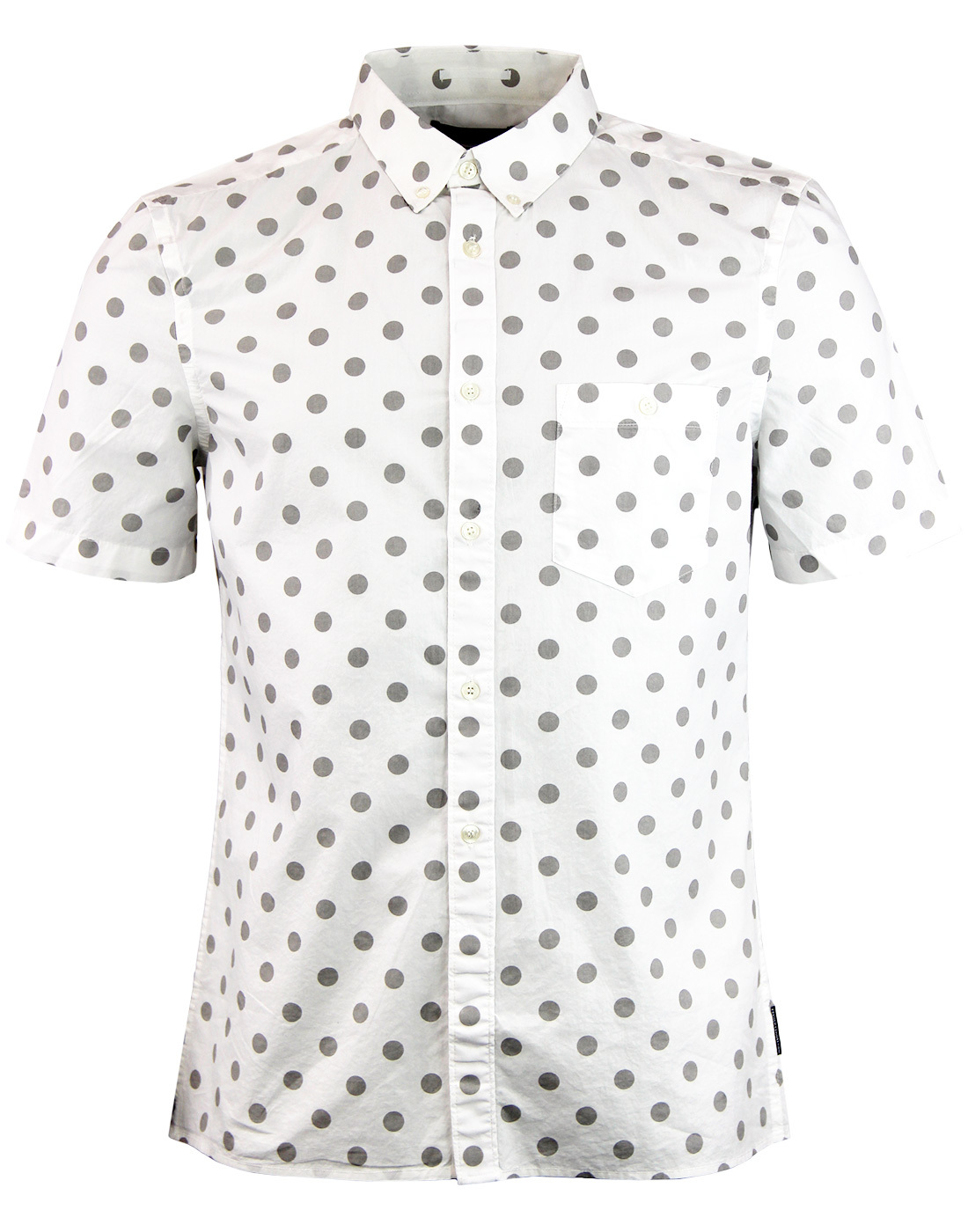 b48e9cb5069 FRENCH CONNECTION Mens Mod 60s Big Polka Dot Shirt in White