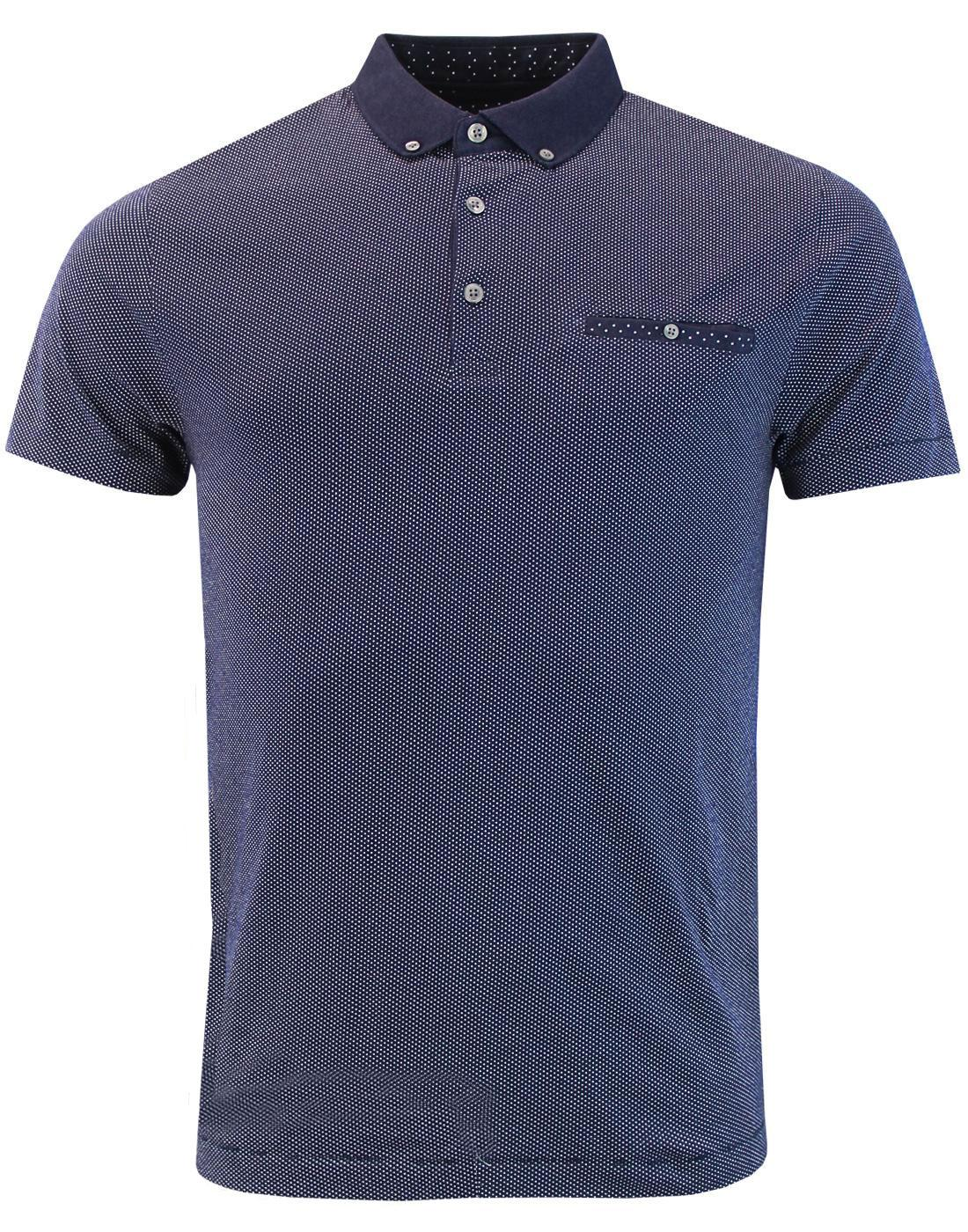 FRENCH CONNECTION Retro Mod Classic Ditsy Dot Polo