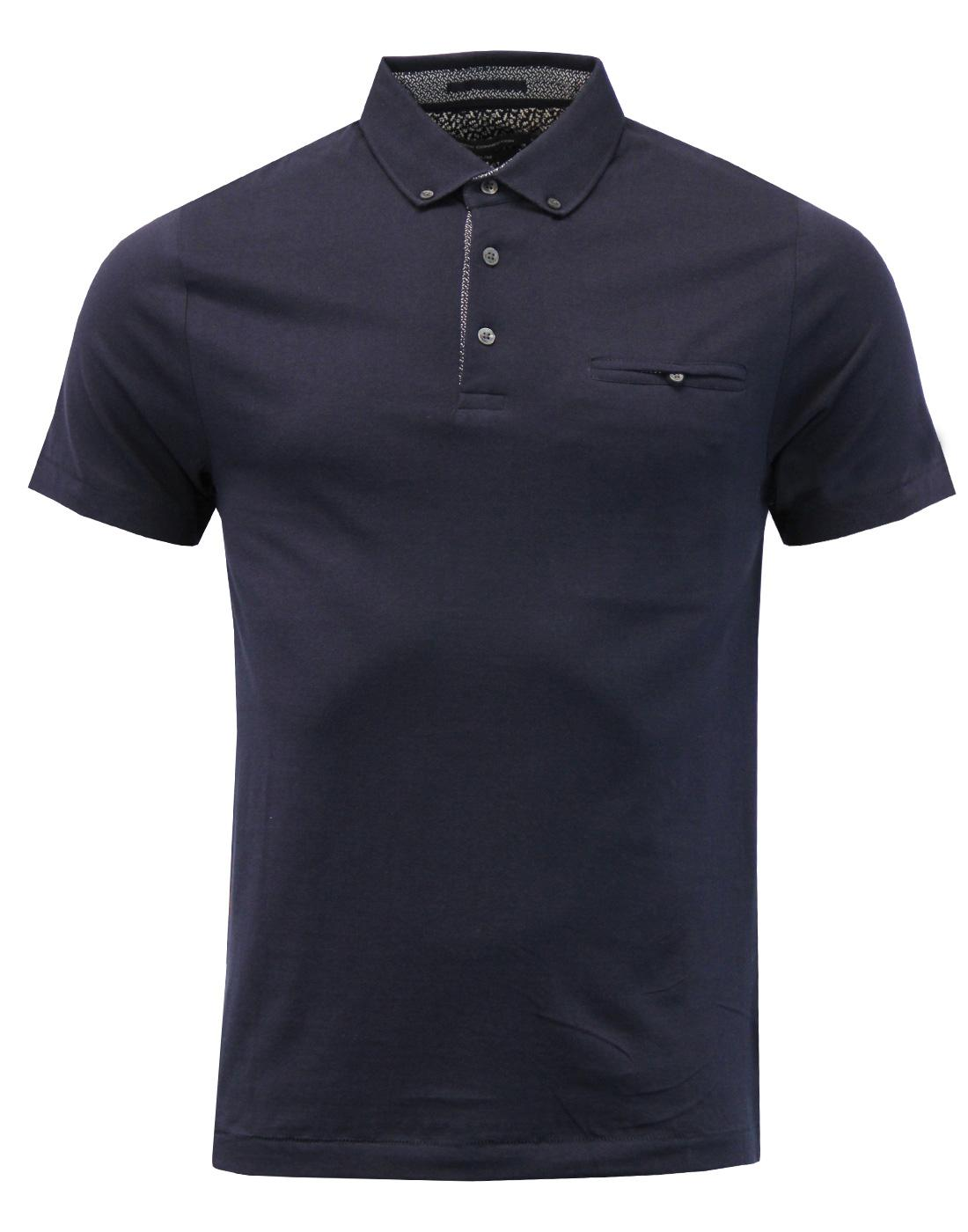 FRENCH CONNECTION 60s Mod Micro Dash Trim Polo Top