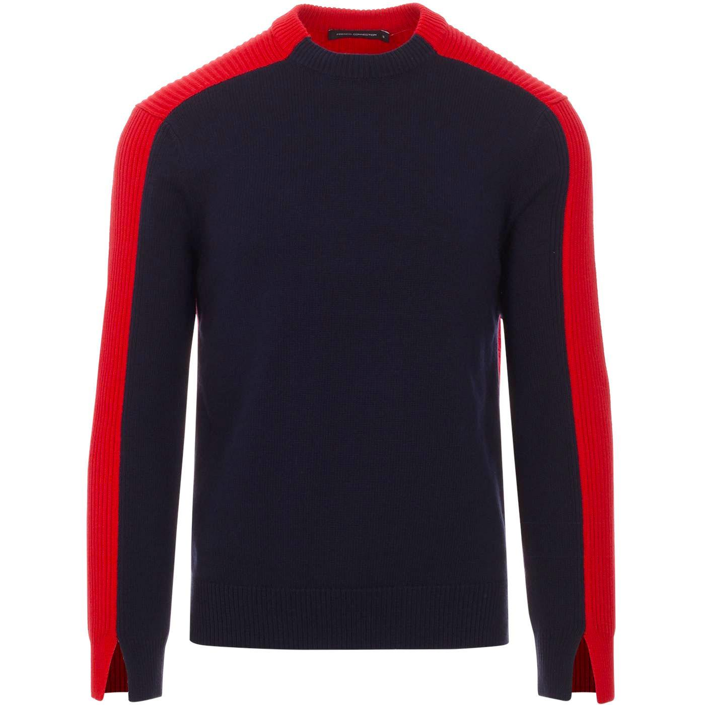FRENCH CONNECTION Retro Colour Block Ribbed Jumper