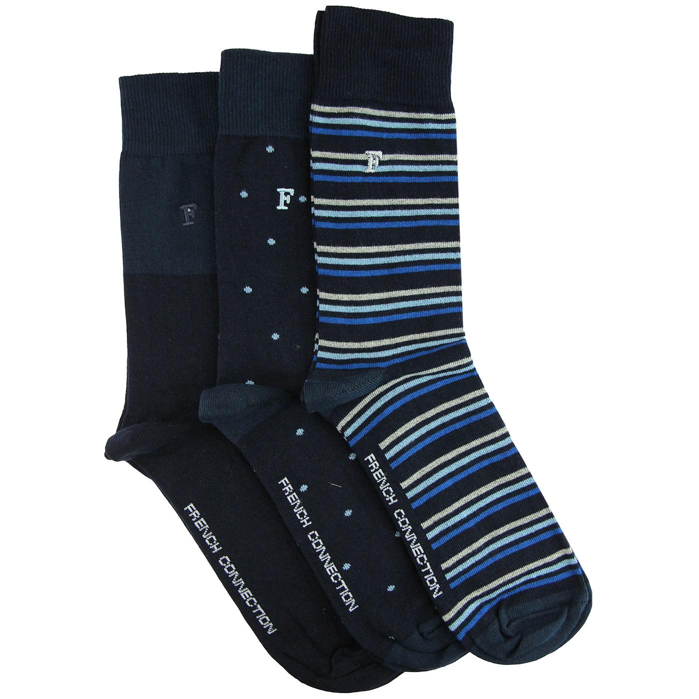 FRENCH CONNECTION Retro 3 Pack Waterfall Socks (N)