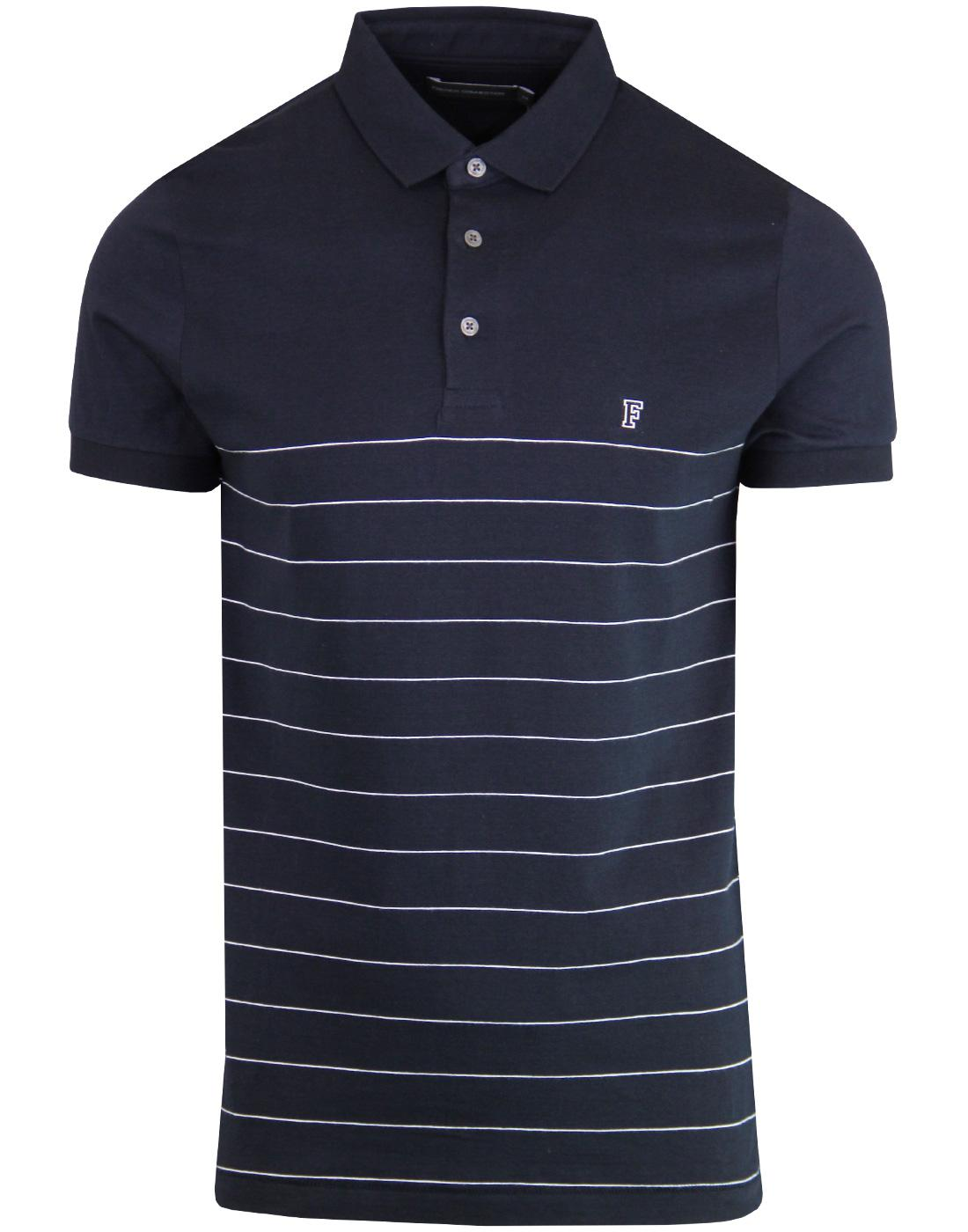 FRENCH CONNECTION Mod Engineered Stripe Polo NAVY