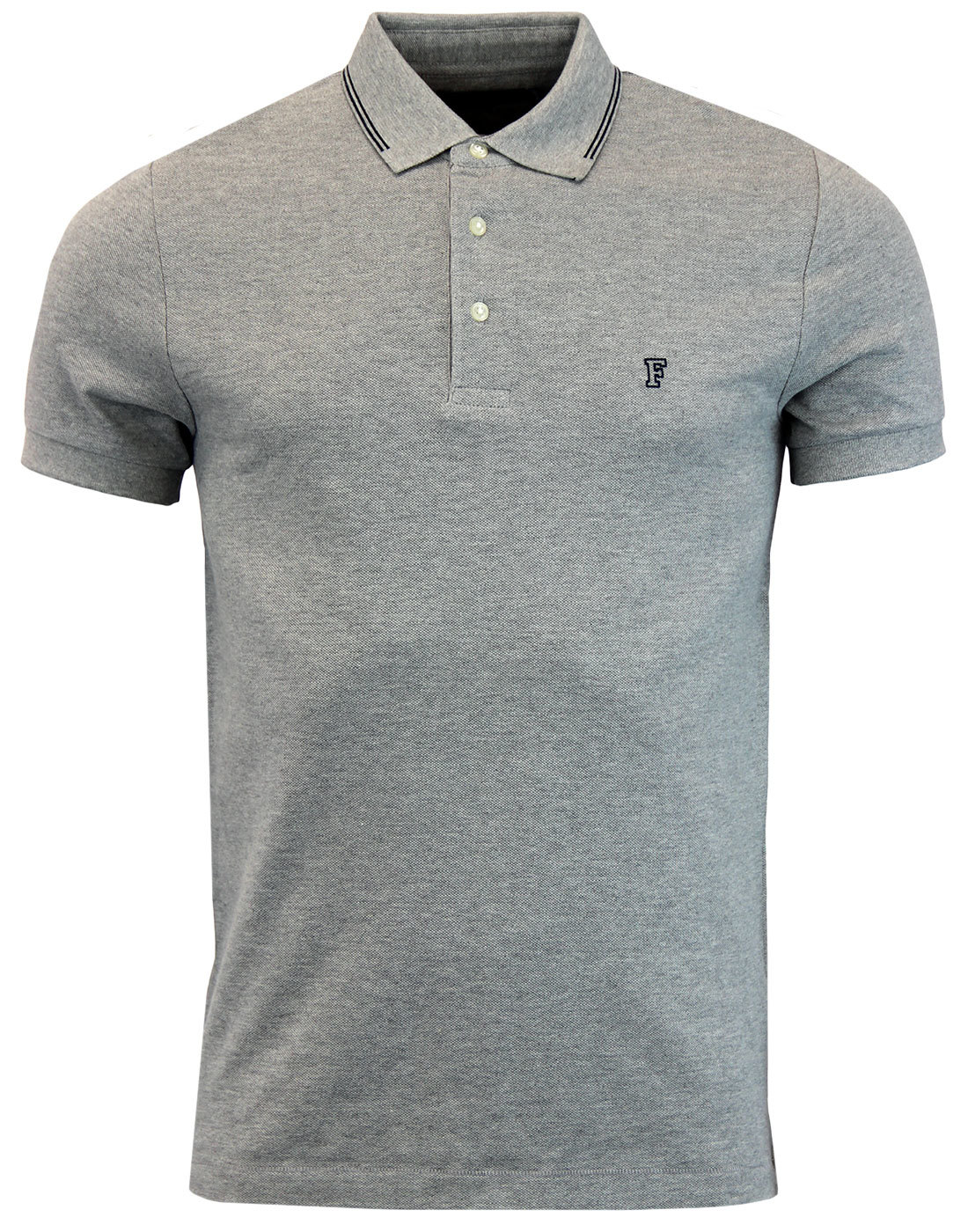 FRENCH CONNECTION Mod Twin Tip Pique Polo GREY