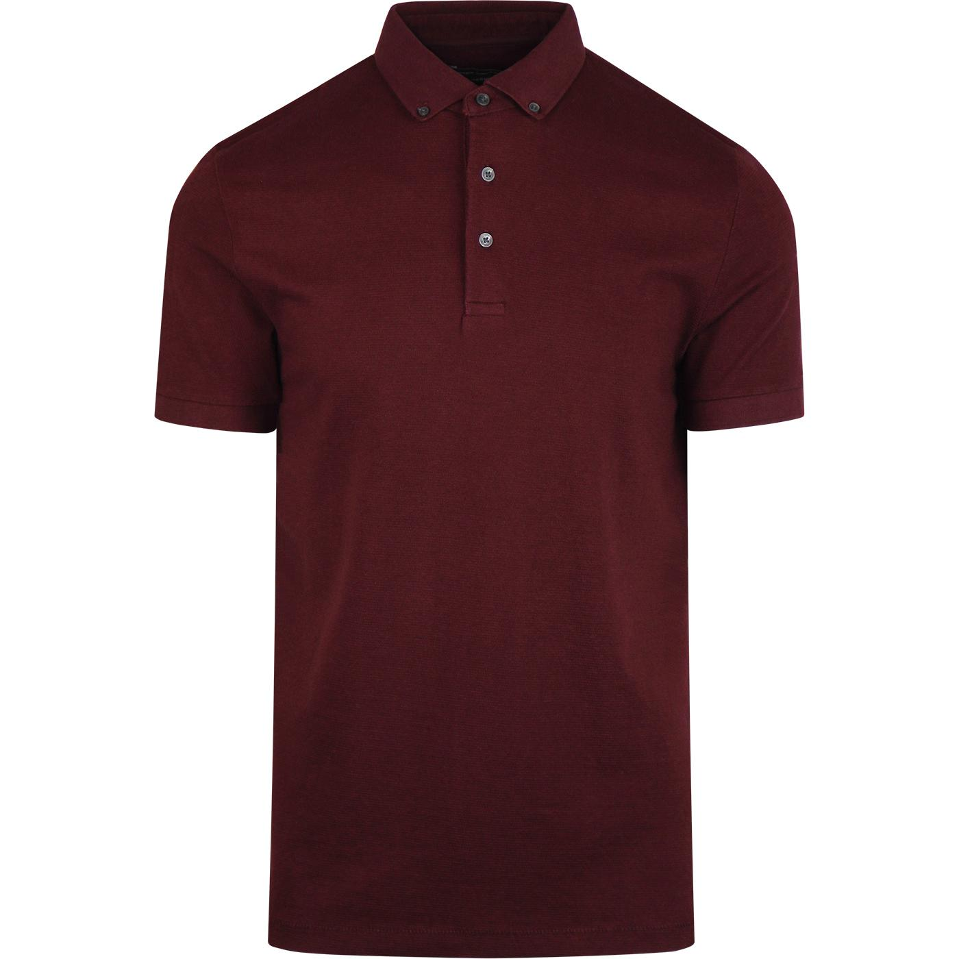 Parched FRENCH CONNECTION Mod Textured Polo BORDO