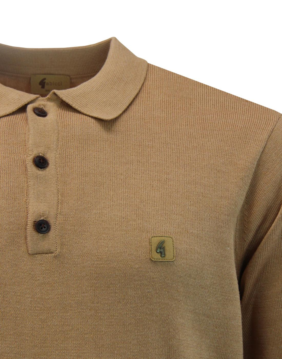 cb6a970ed GABICCI VINTAGE Francesco Retro 60s Mod Knitted Polo Top in Honey