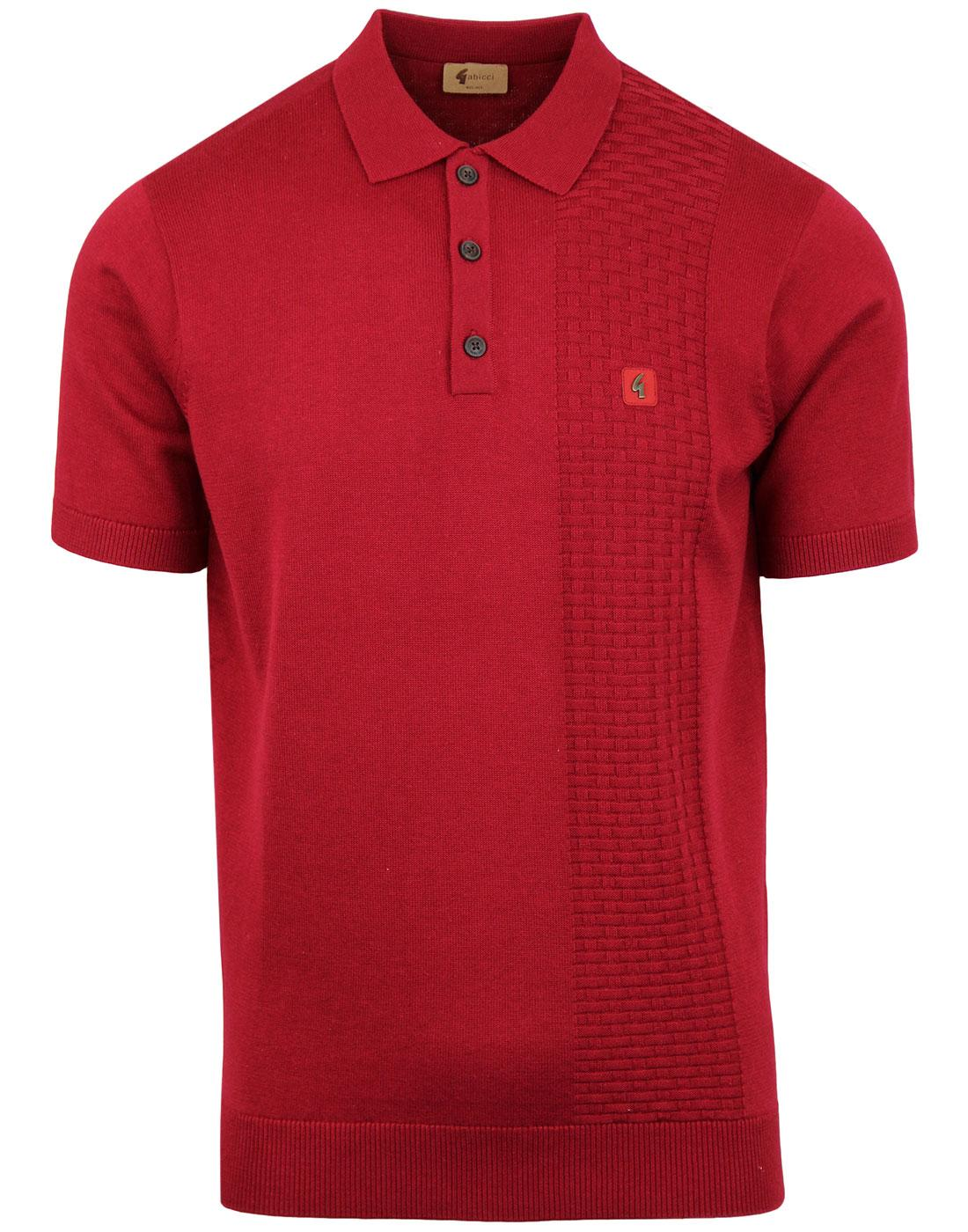 Impact GABICCI VINTAGE Basket Weave Polo Top RED