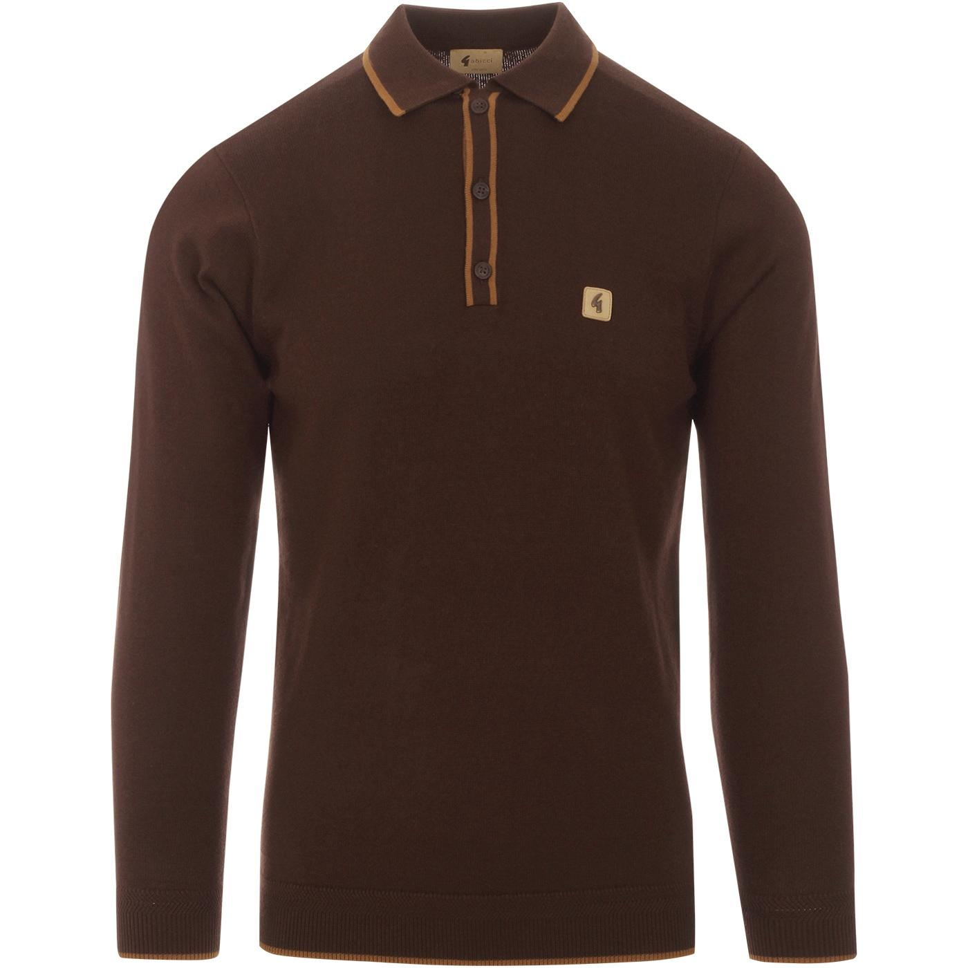 Lineker GABICCI VINTAGE Mod Knit Tipped Polo COCOA