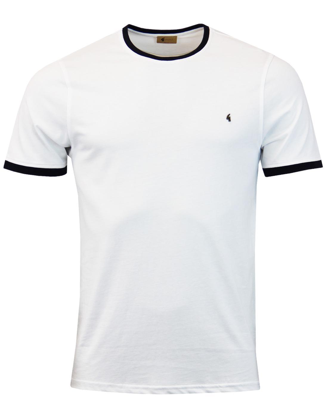 GABICCI VINTAGE Retro 60s Mod Ringer T-shirt WHITE