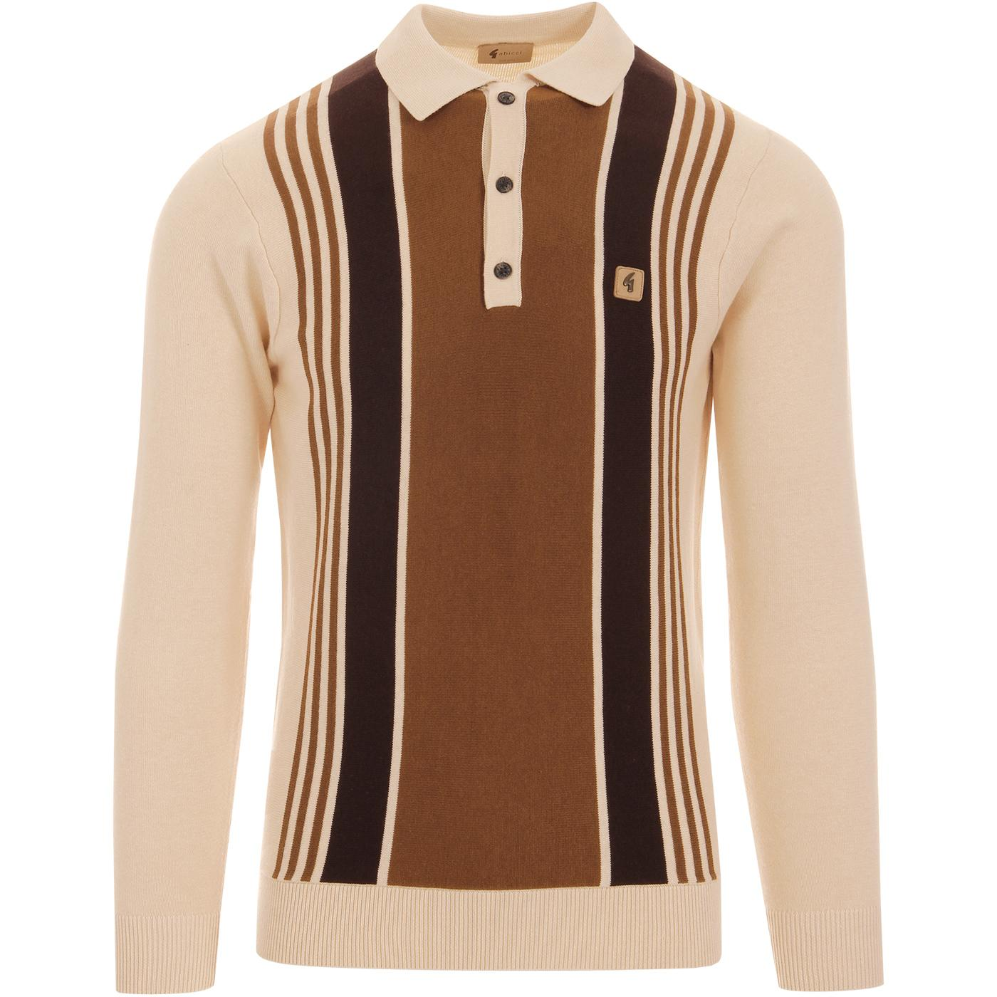 Searle GABICCI VINTAGE Mod Stripe Knit Polo (Oat)