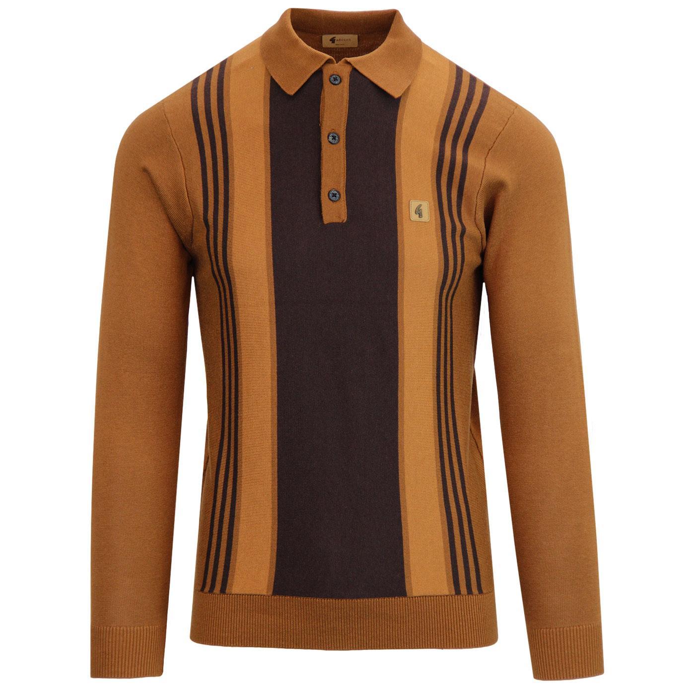 Searle GABICCI VINTAGE Mod Stripe Knit Polo TOFFEE