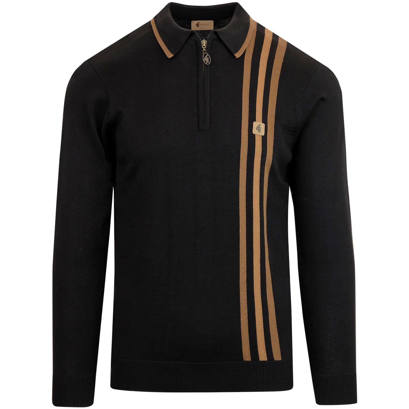 Blade GABICCI VINTAGE Mod Stripe Knit Polo (Black)