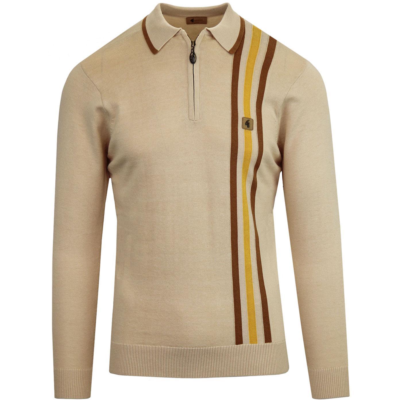 Blade GABICCI VINTAGE 60s Mod Stripe Knit Polo OAT