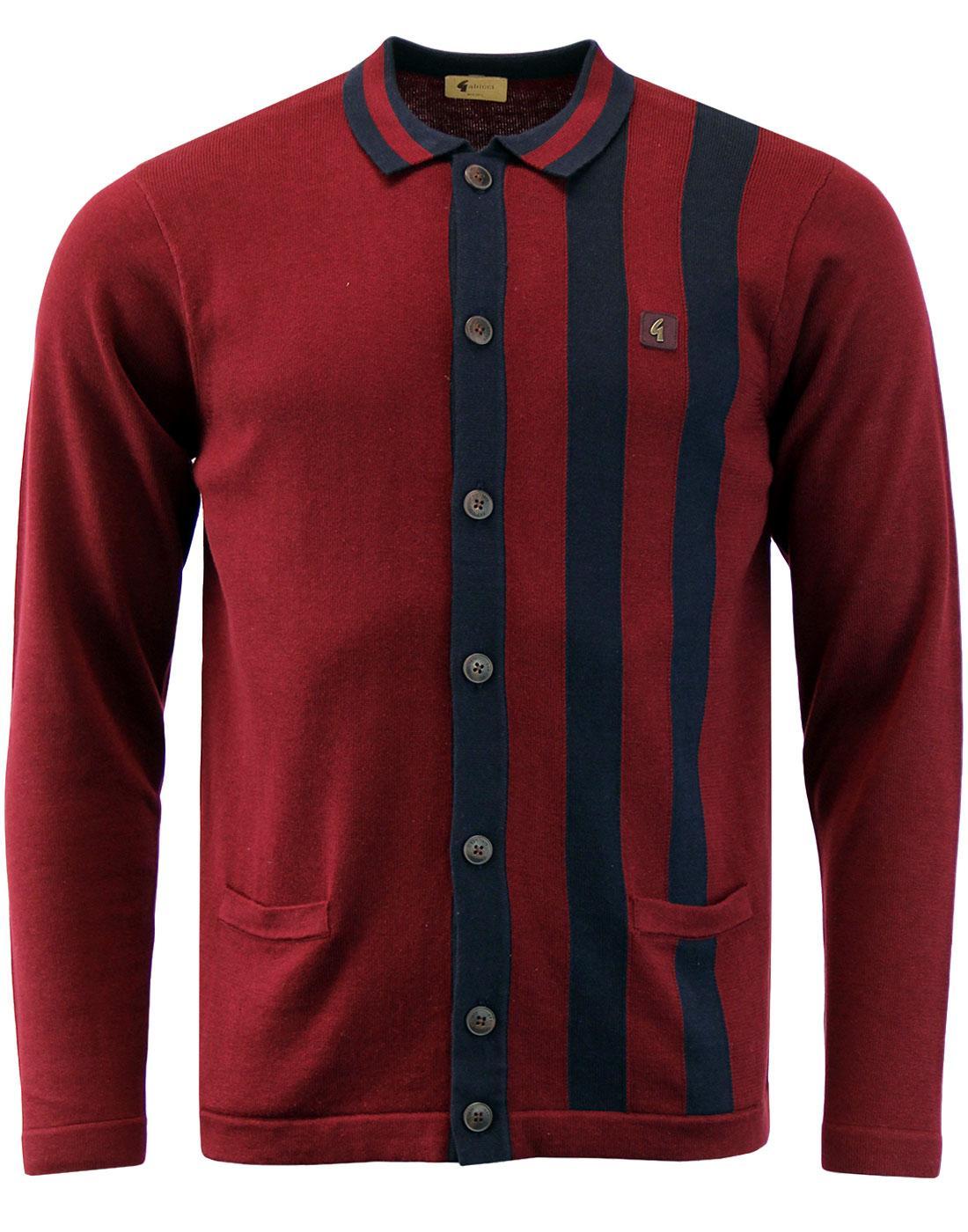 Boom GABICCI VINTAGE Mod Stripe Polo Cardigan PORT