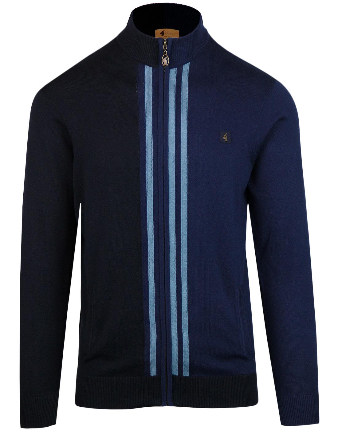 Brighton GABICCI VINTAGE Retro Knit Track Top NAVY