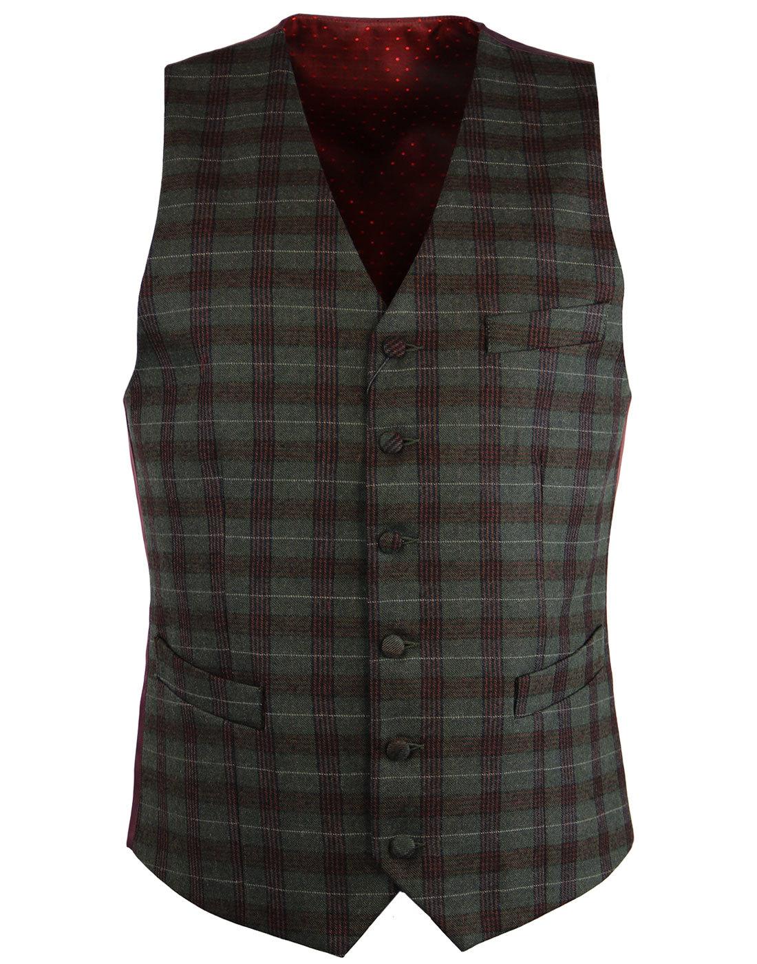 GABICCI VINTAGE 60s Mod Check V-Neck Waistcoat