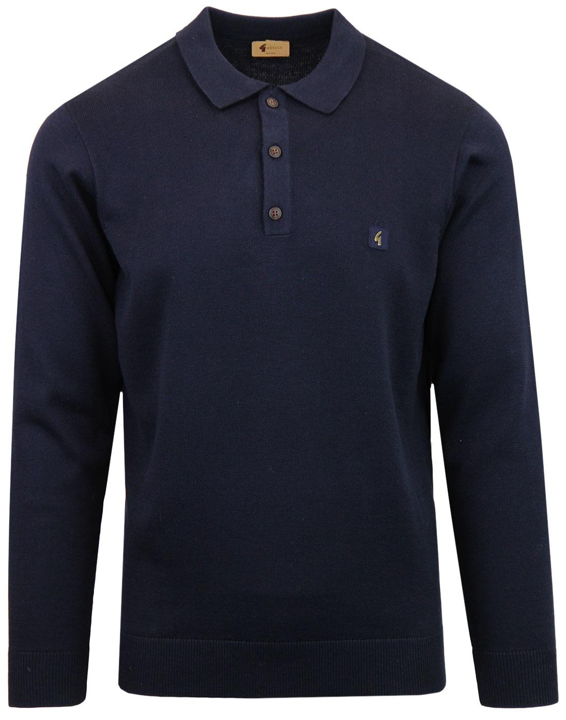 Francesco GABICCI VINTAGE Retro Knit Polo Top NAVY