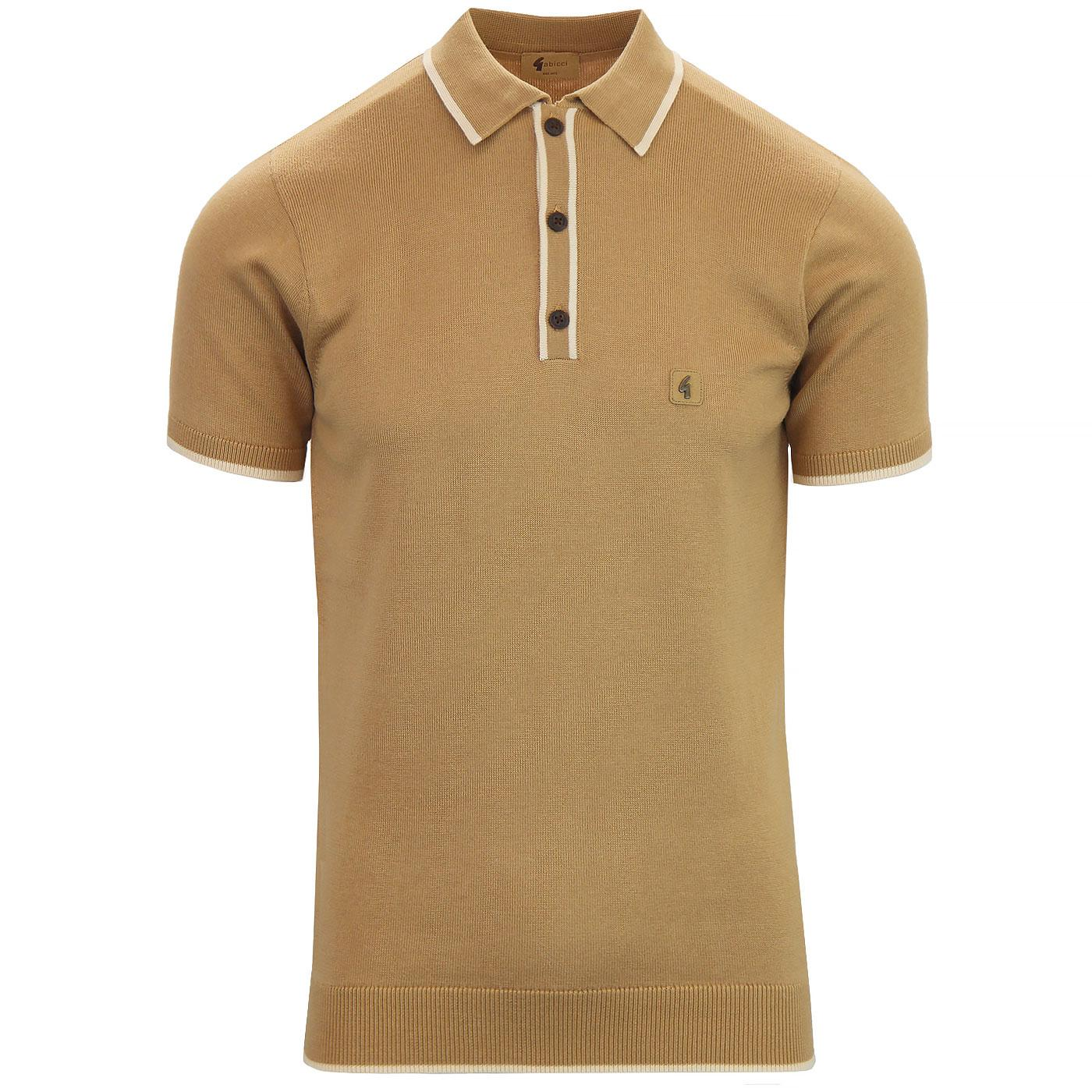 9552365e8 GABICCI VINTAGE Lineker Retro Mod Knit Polo in Butterscotch