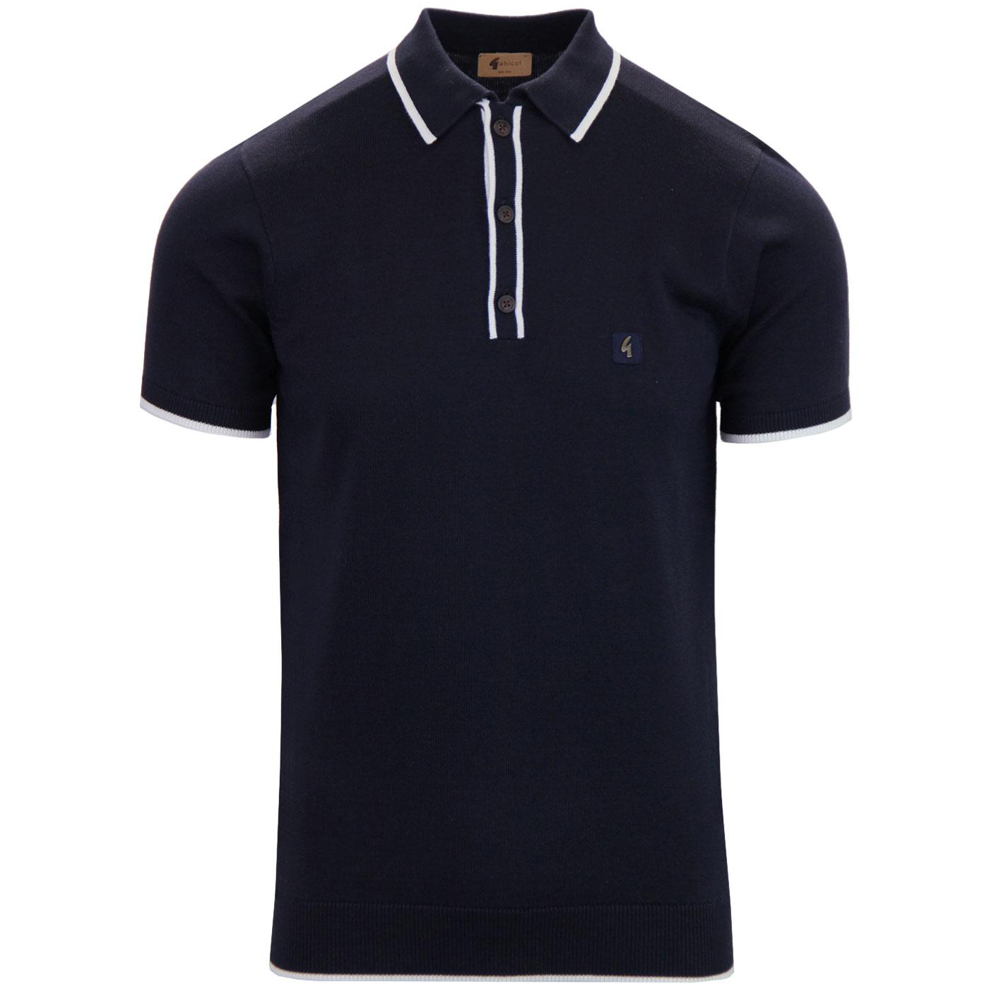eaa430a2d GABICCI VINTAGE Lineker Retro Mod Tipped Knit Polo in Navy